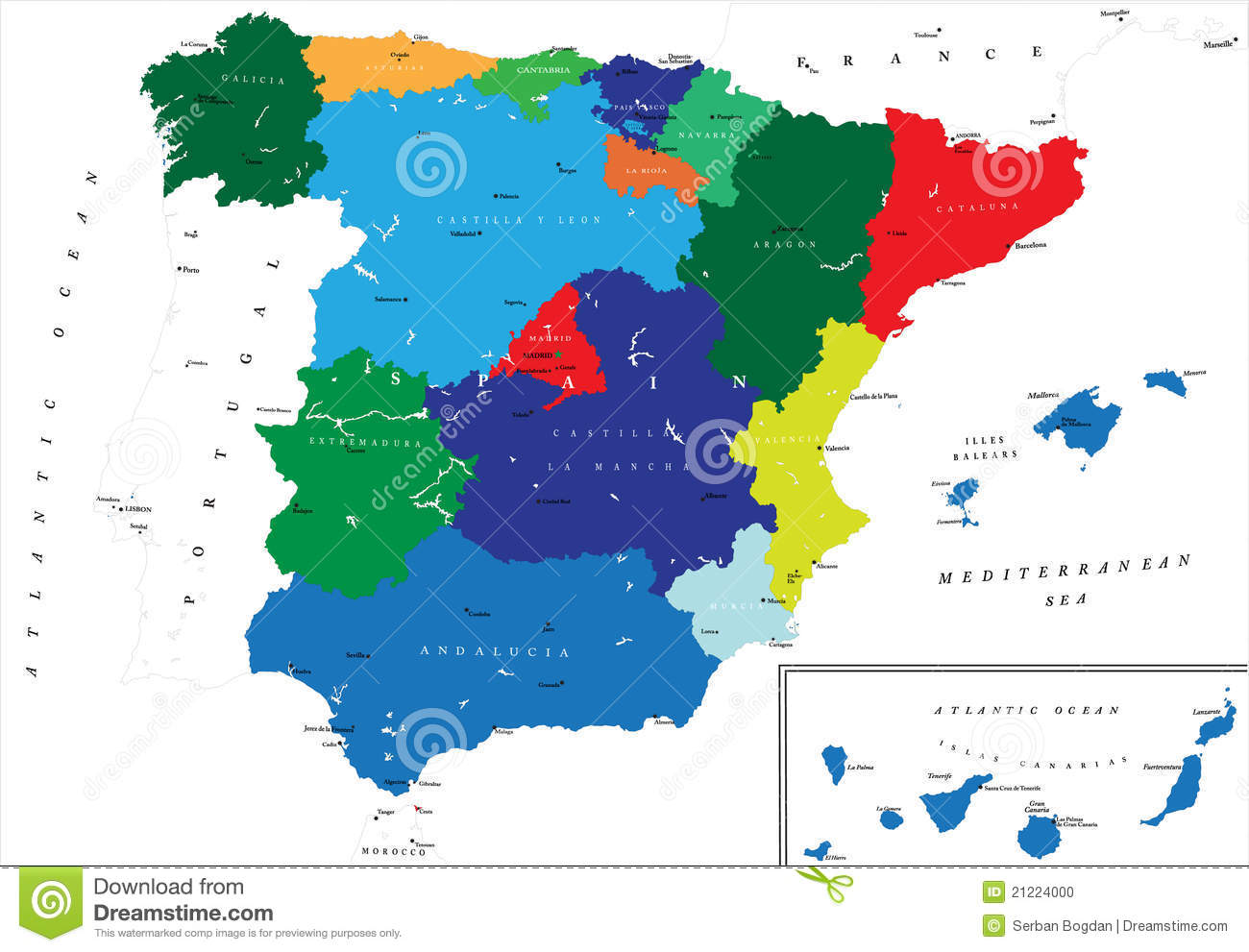 Political Map Of Spain Stock Photo Image - Spain political map