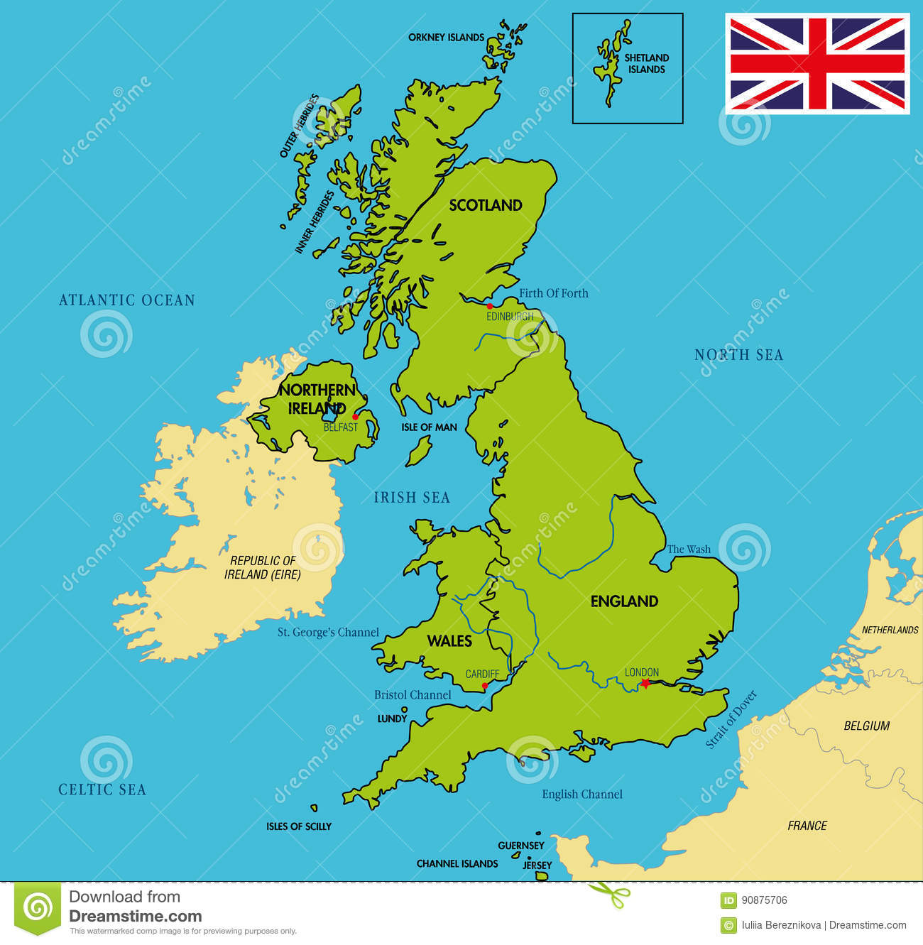 Political Map Of United Kingdom With Regions And Their Capitals - Political map of united kingdom