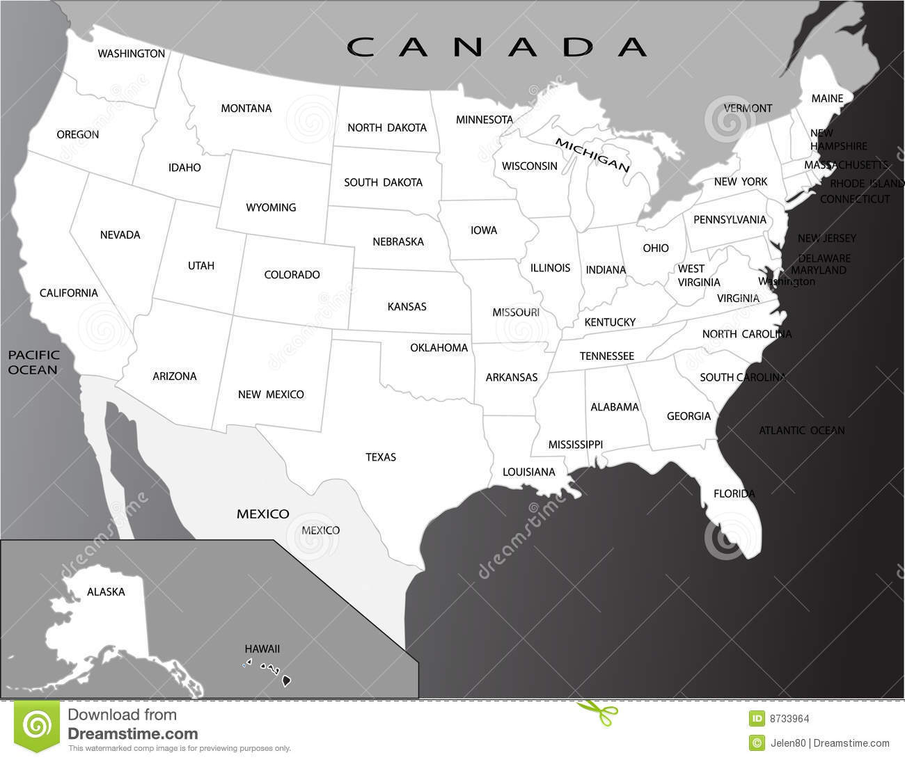 Political Map Of USA Stock Images Image - Map of the usa political