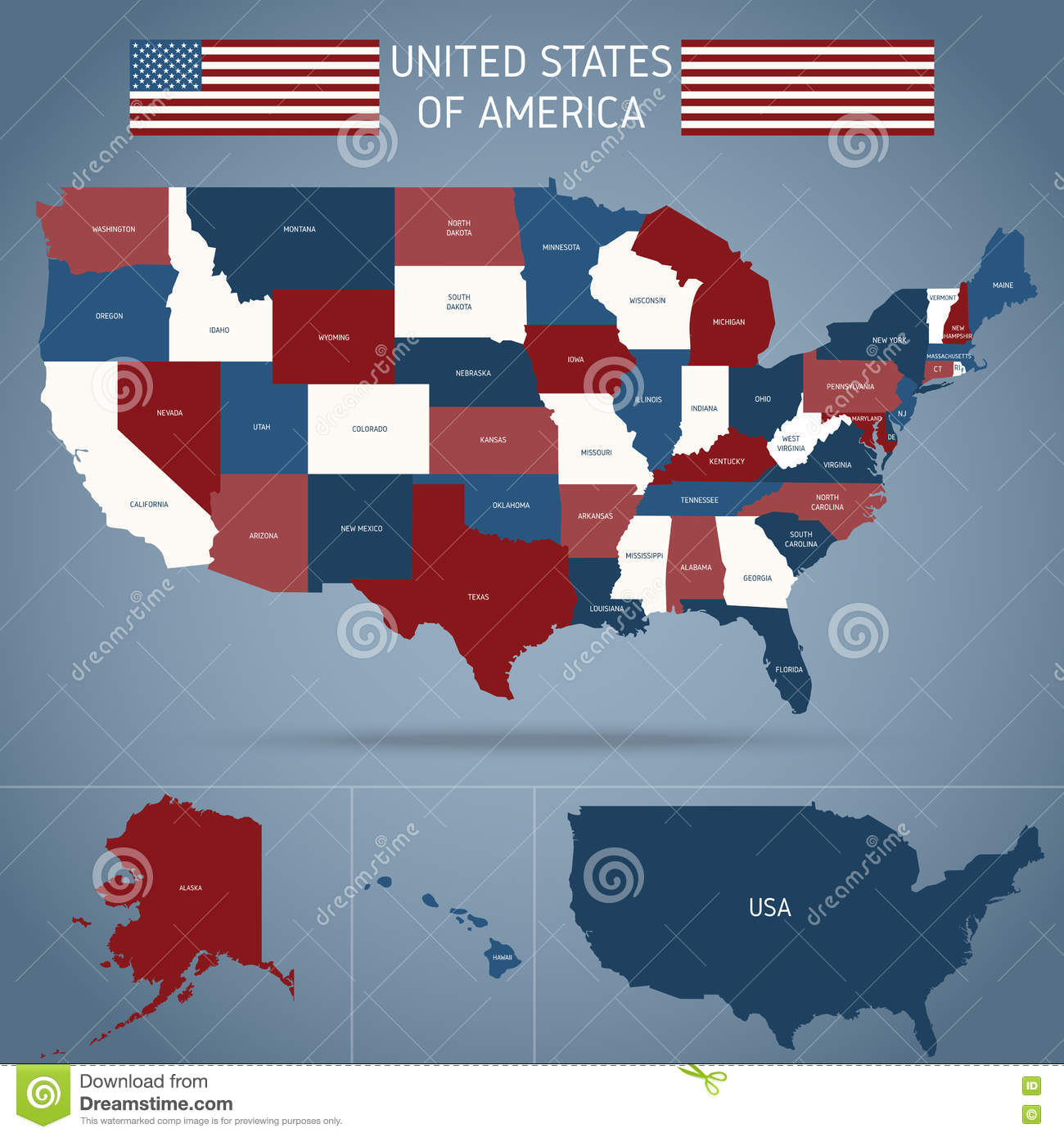 Political Map Of Usa Poster Stock Vector Illustration Of - Us-political-map-red-blue