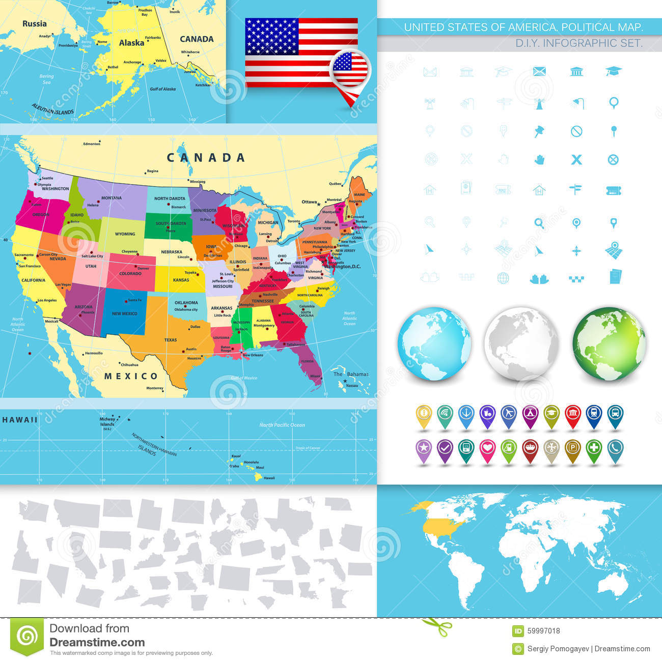 North America Detailed Political Map Stock Vector Image - Political map of the usa