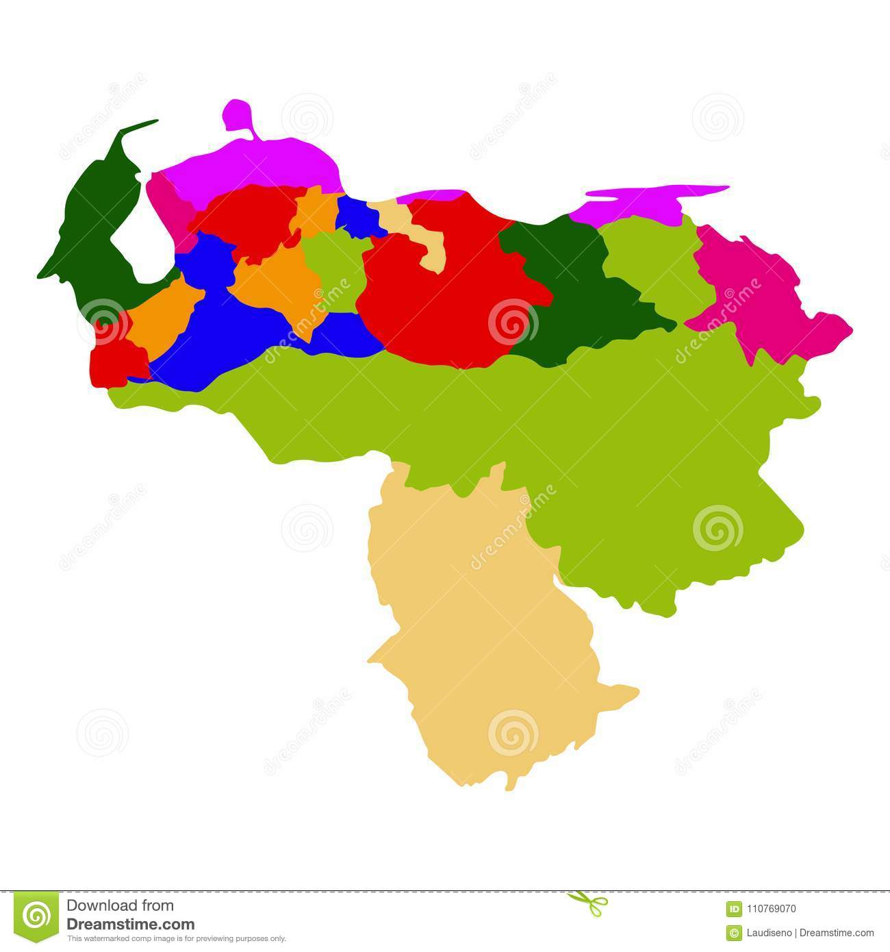 Political Map Of Venezuela Stock Vector Illustration Of Detailed