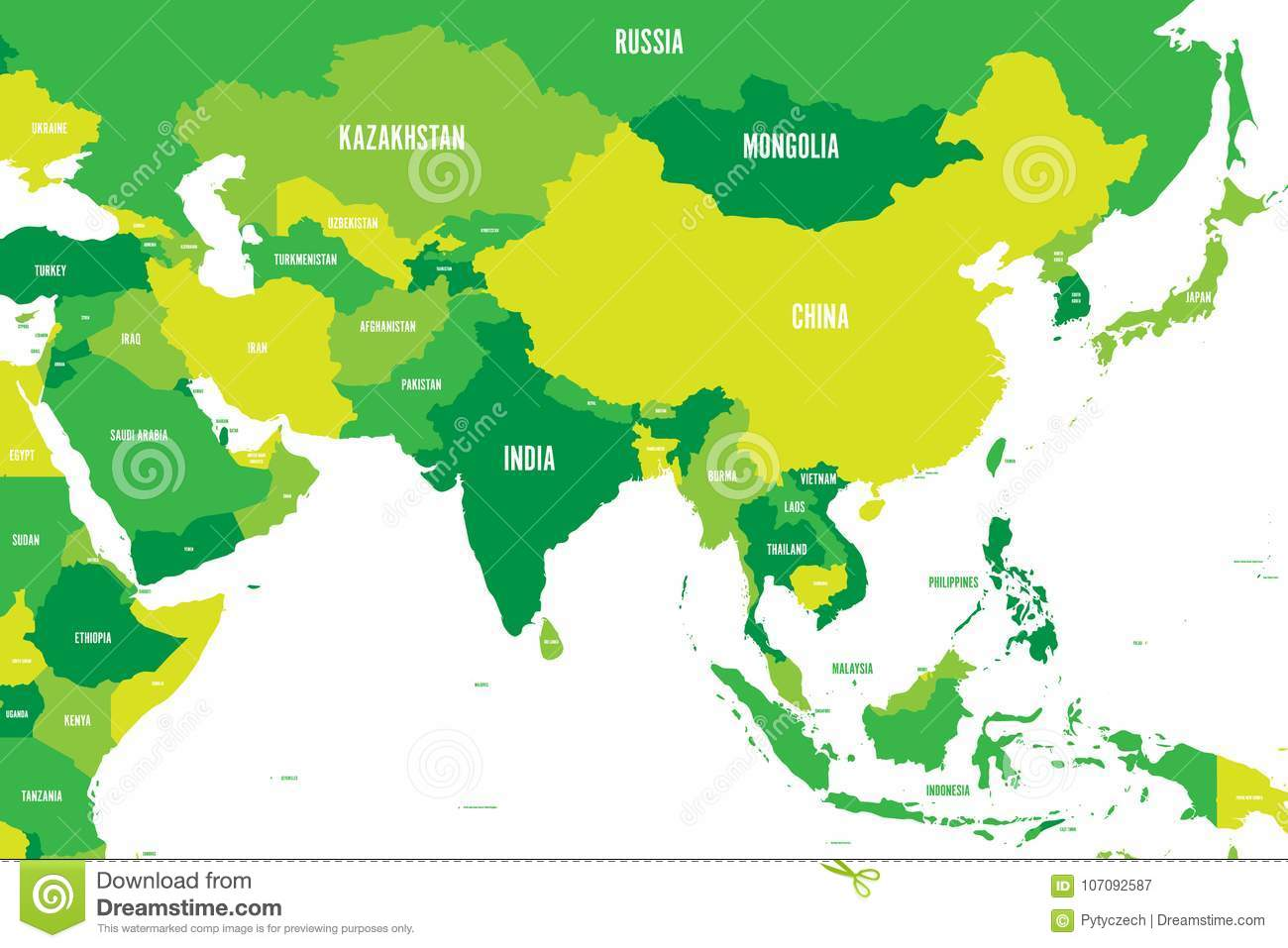 Political Map Of Western, Southern And Eastern Asia In Shades Of ...