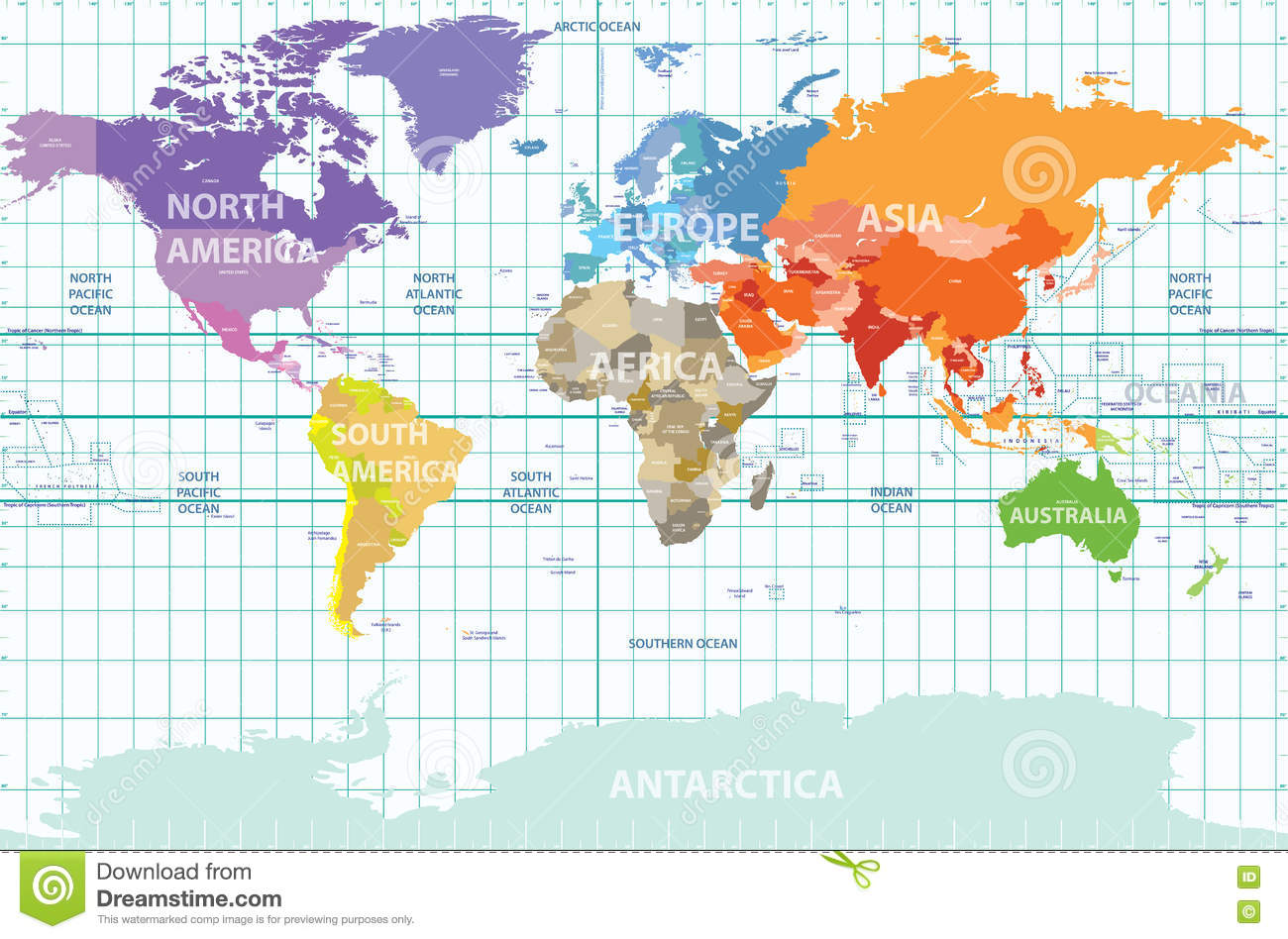 Political Map Of The World With All Continents Separated By Color - Map of the world with countries labeled