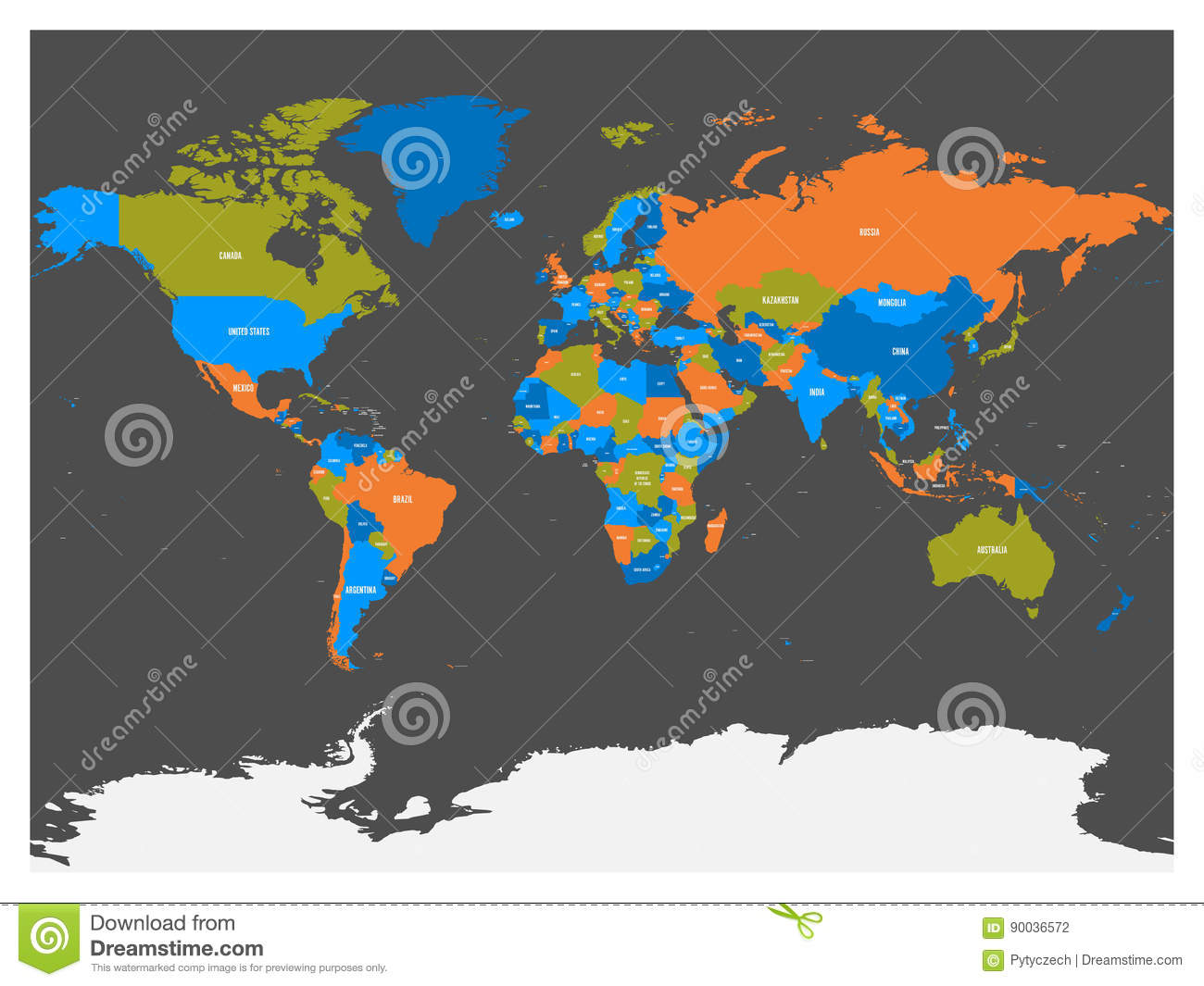 Political Map Of World With Antarctica. Countries In Four Different ...