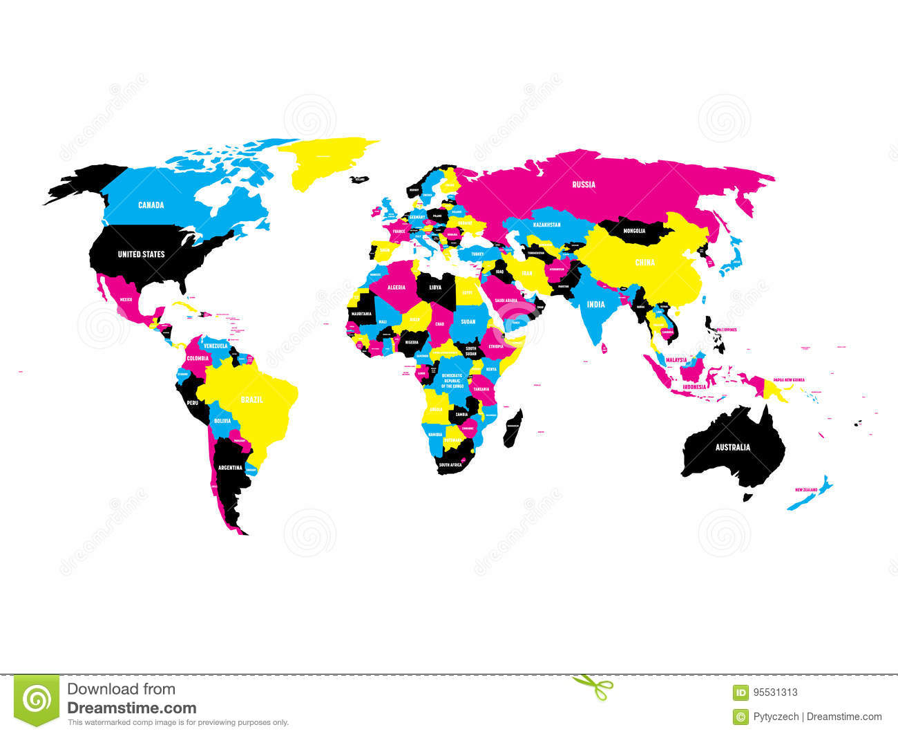 World Map To Color And Label.Political Map Of World In Cmyk Colors With Country Name Labels