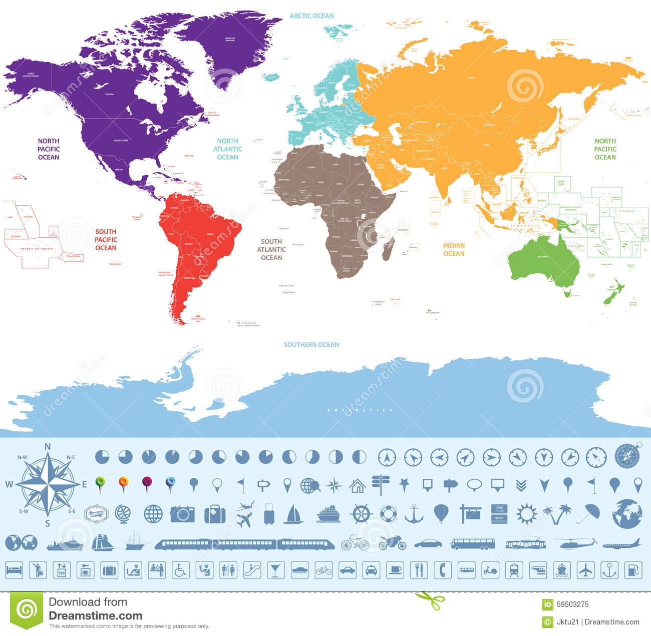 World Map With Travel Icons Image Image 11205211 – World Map For Travel