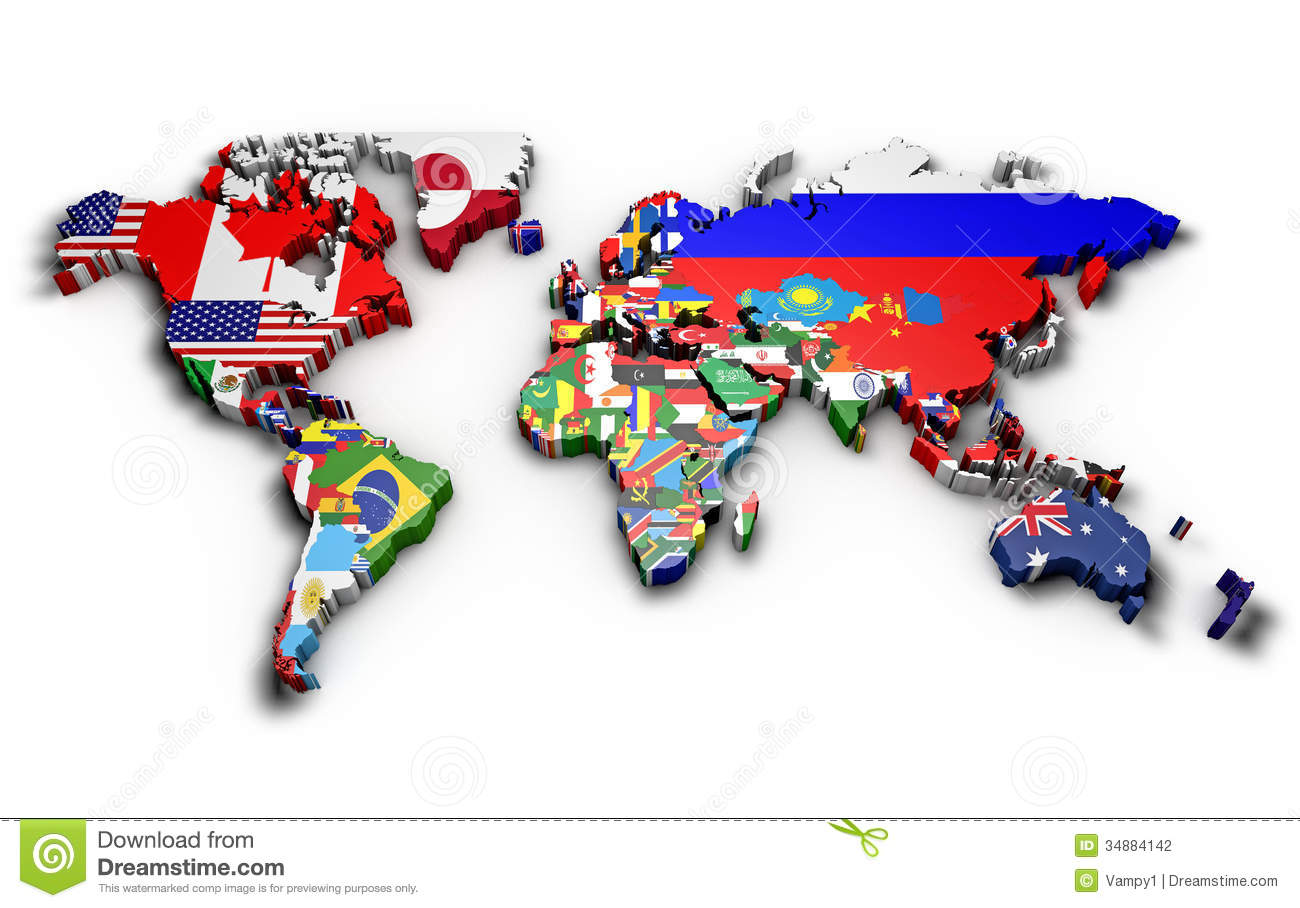 Political map of world stock illustration illustration of mainland political map of world with country flags gumiabroncs Choice Image