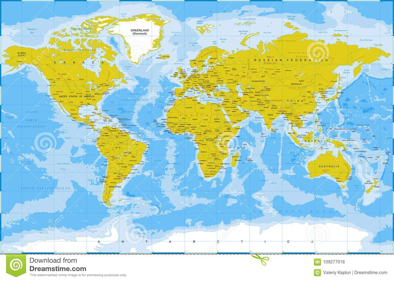 Political Physical Topographic Colored World Map Vector ...