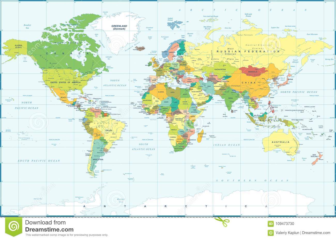 Political colored world map vector stock photo image of america royalty free stock photo gumiabroncs Images