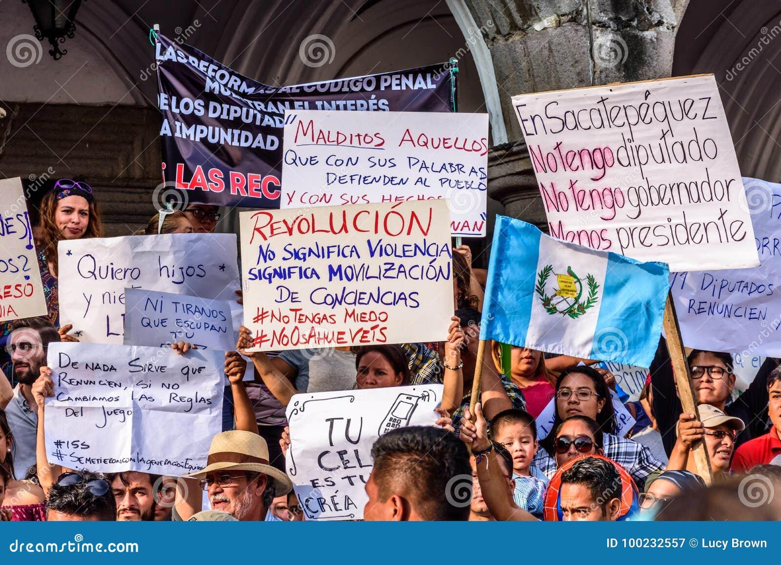 Political Protests, Antigua, Guatemala Editorial Photography