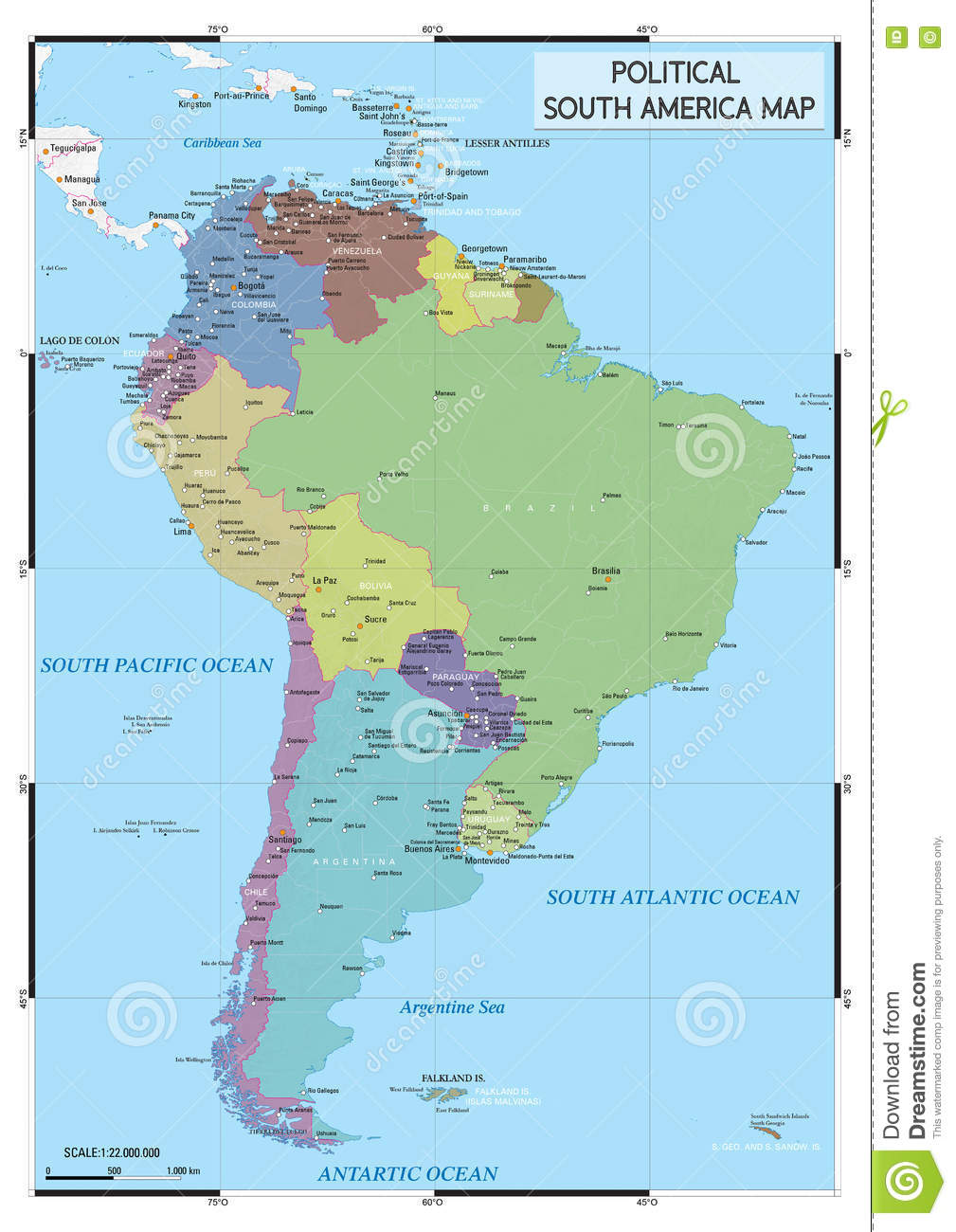 Political South America Map Stock Vector - Illustration of ...