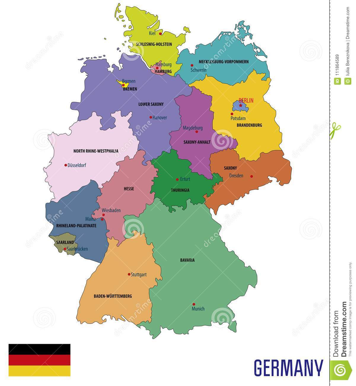 Map Of Germany Hamburg.Germany Political Vector Map With Regions Stock Vector