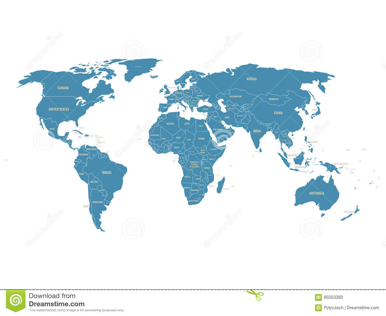 Political Vector World Map With State Name Labels Blue Land With - Us map with state labels