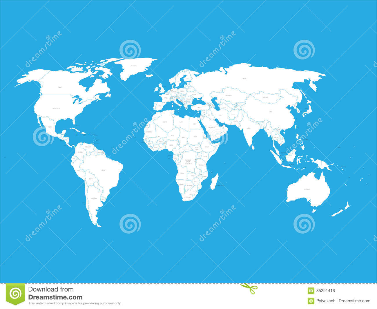 Political Vector World Map With State Name Labels White Land With - The world map with labels