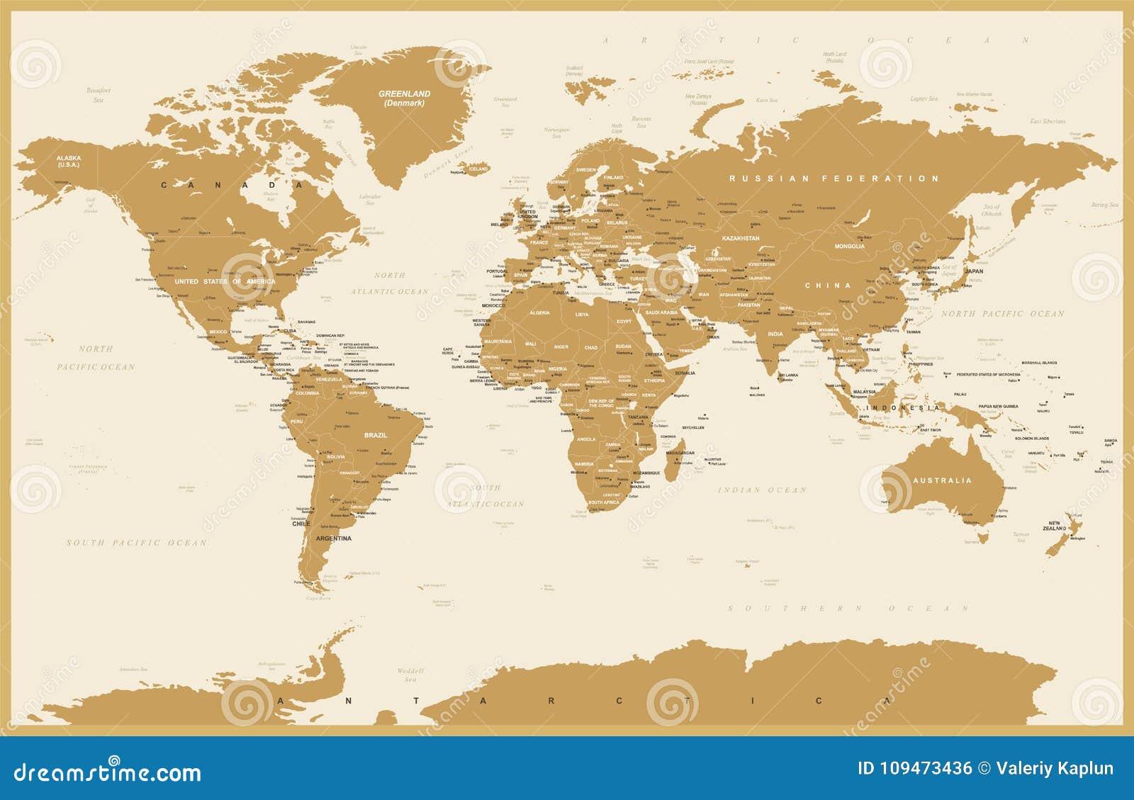 Jordan Political Map Eps Illustrator Map: Political Vintage World Map Vector Stock Illustration