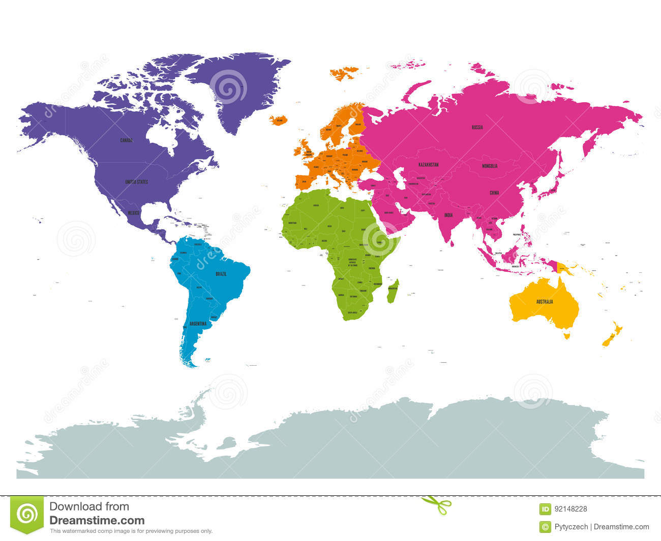 Political world colored by continents with country labels om white political world colored by continents with country labels om white background simple flat vector illustration gumiabroncs Image collections