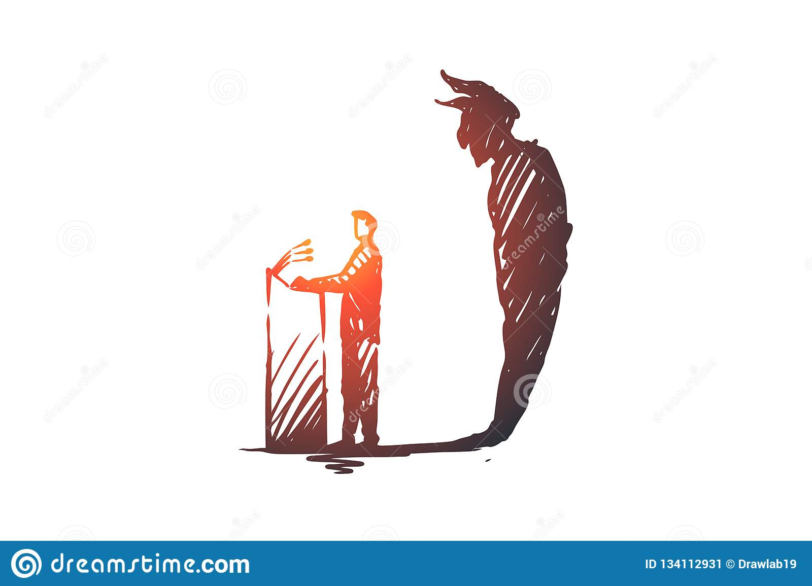 Politician, debate, elections concept. Hand drawn sketch isolated illustration