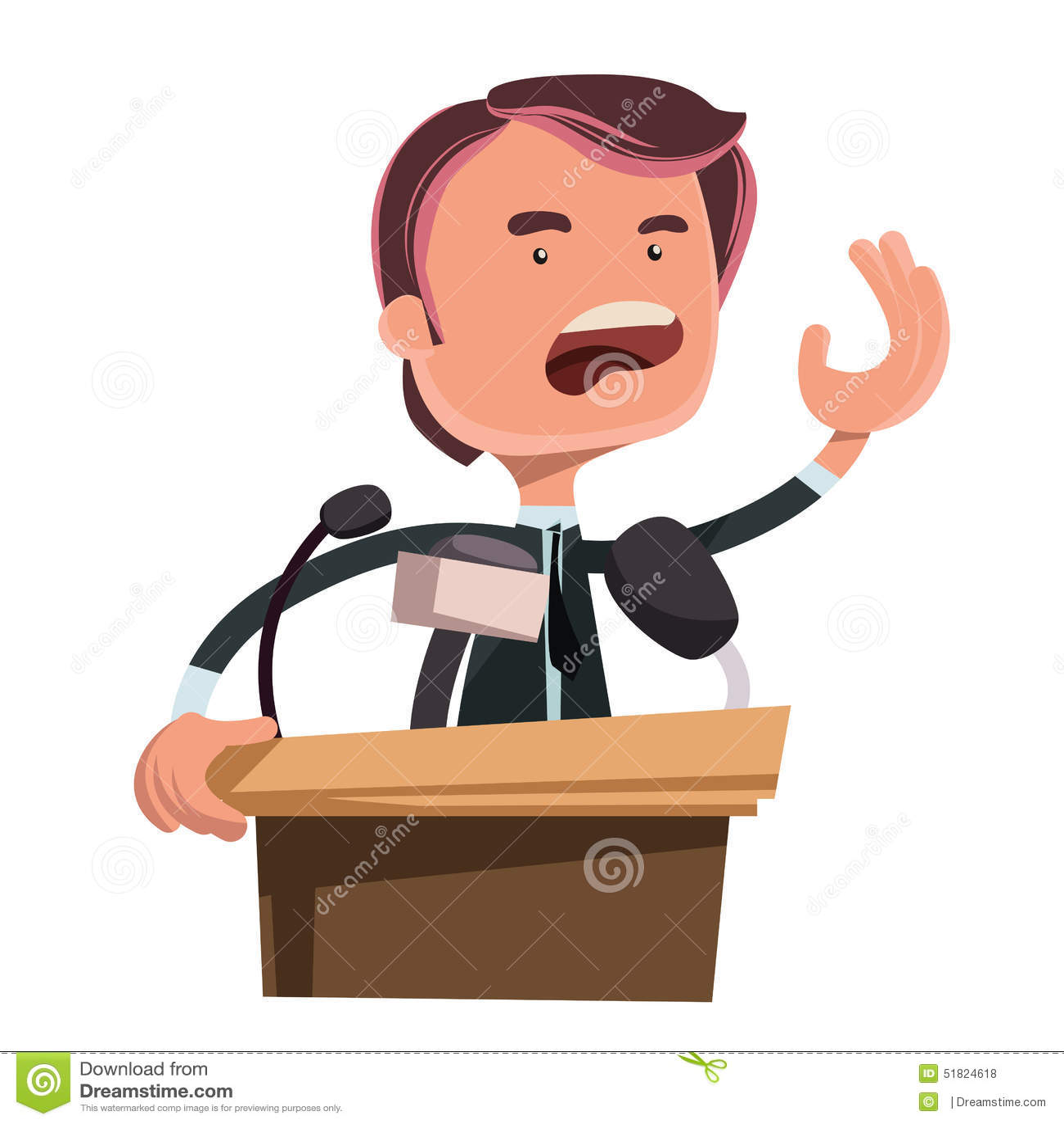 Politician giving speech illustration cartoon character. Enjoy :).