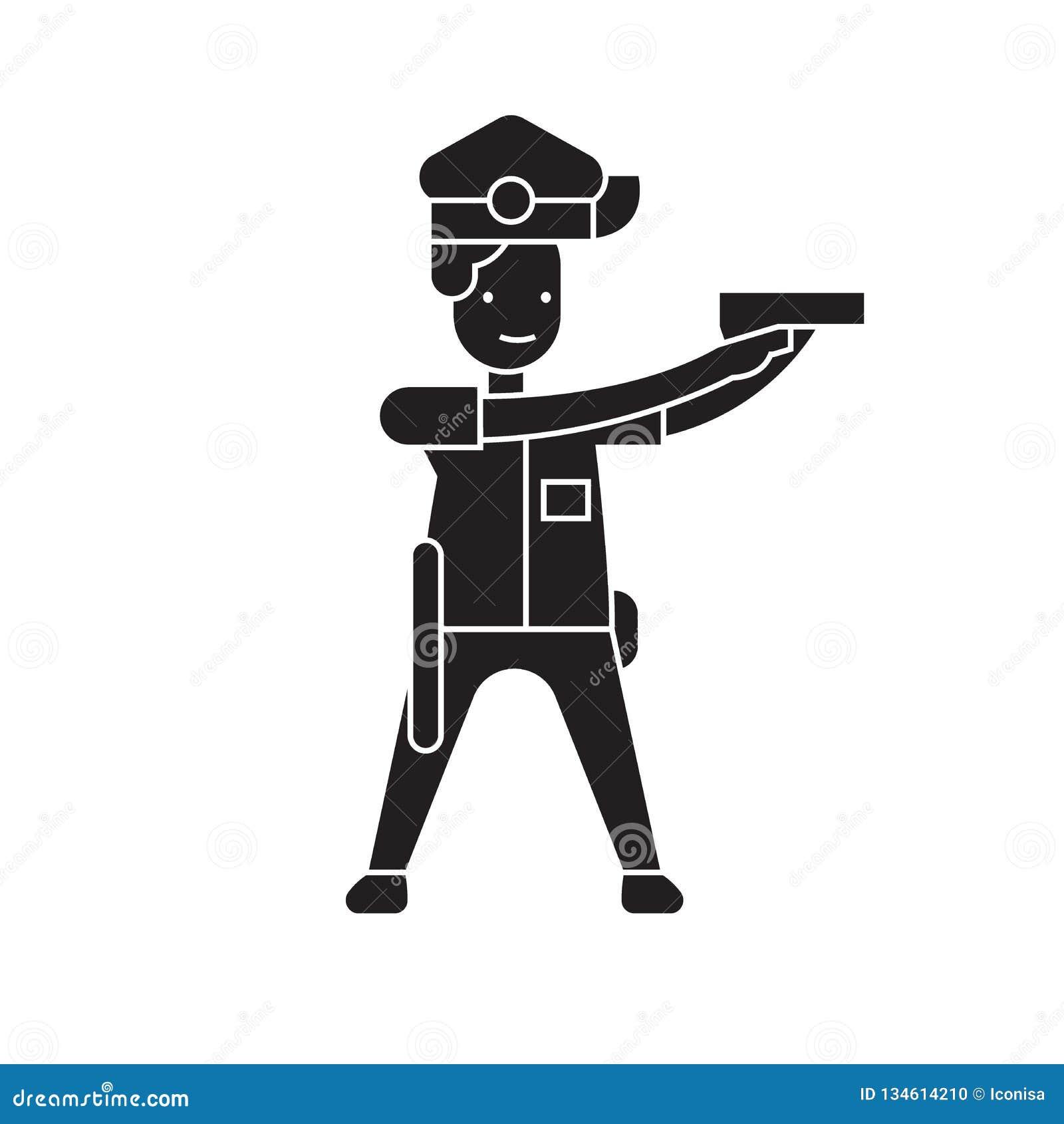 Politieagent die zwart vectorconceptenpictogram streven Politieagent die vlakke illustratie, teken streven