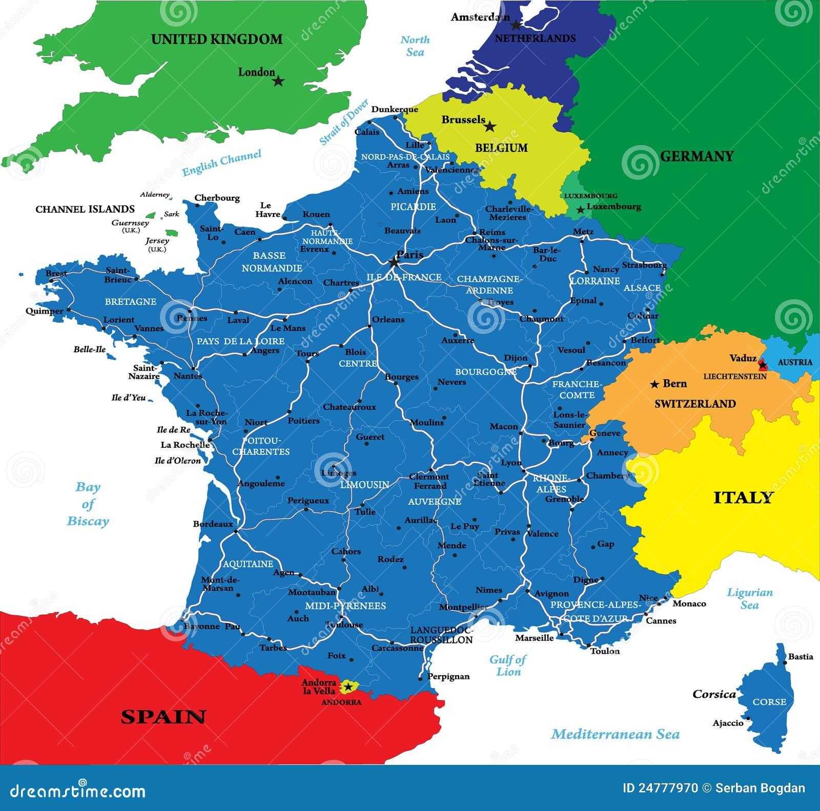 Politieke Kaart Van Frankrijk Vector Illustratie Illustratie