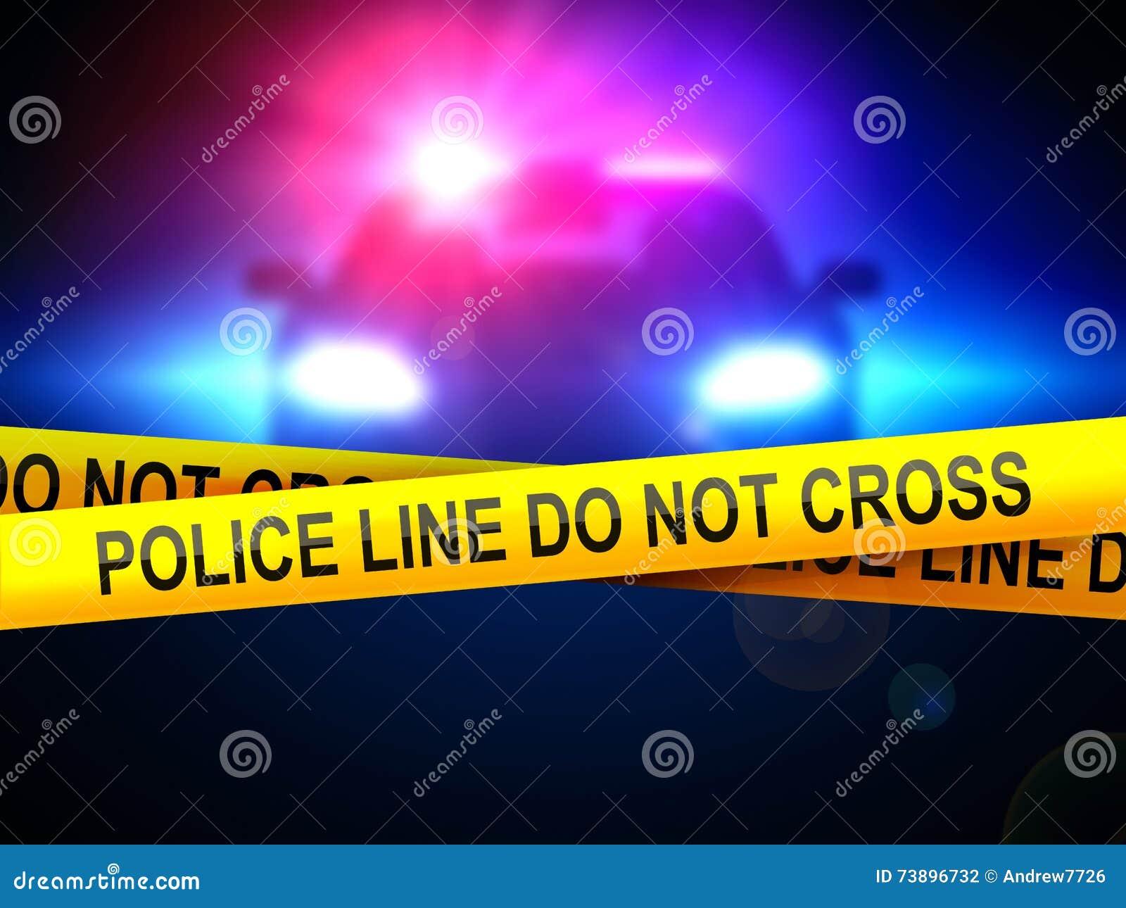Politielijn niet dwars op een achtergrond van een politiewagen in dark