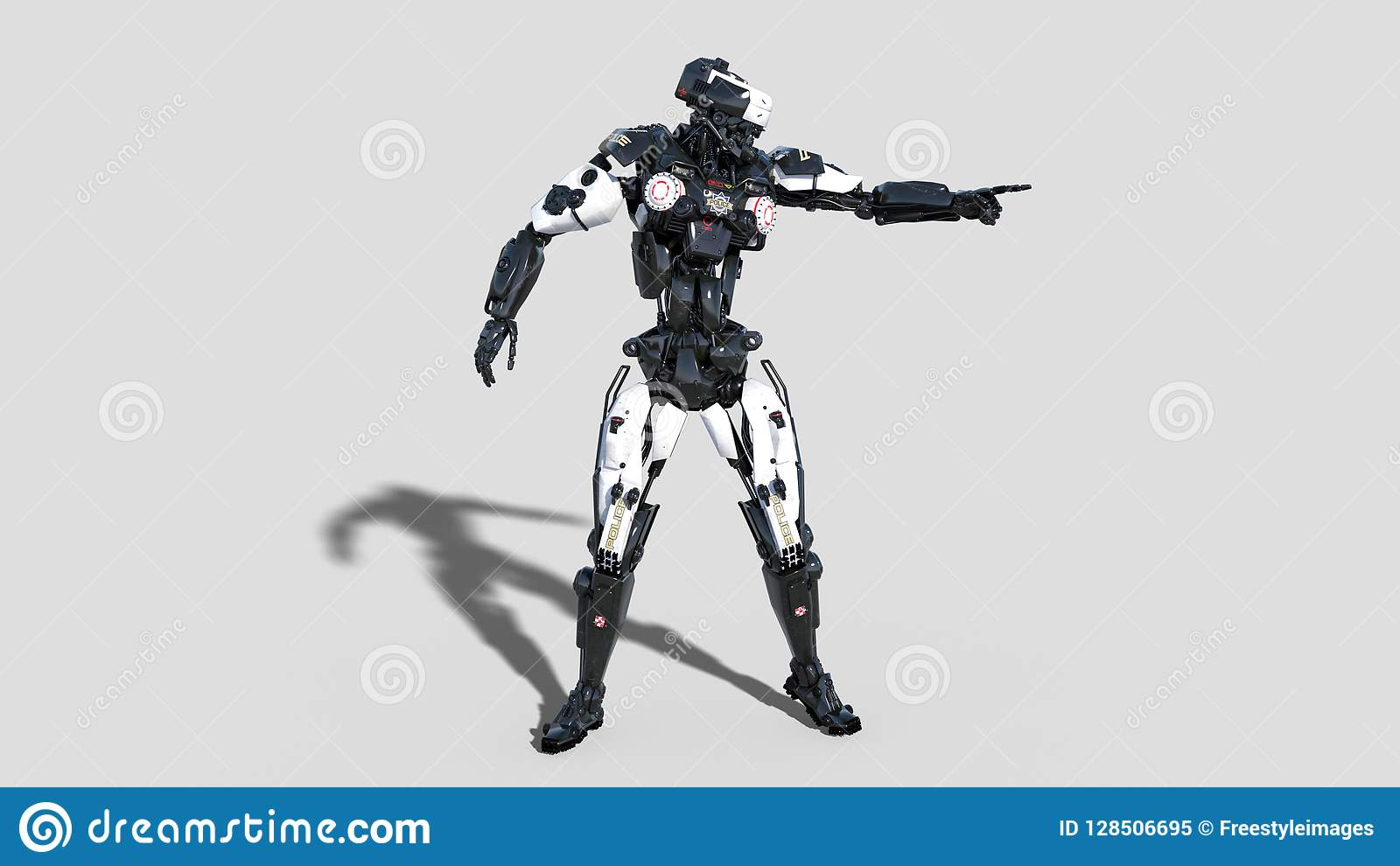 Politierobot, wetshandhaving die cyborg, androïde die cop de richten op witte 3D achtergrond wordt geïsoleerd, geeft terug