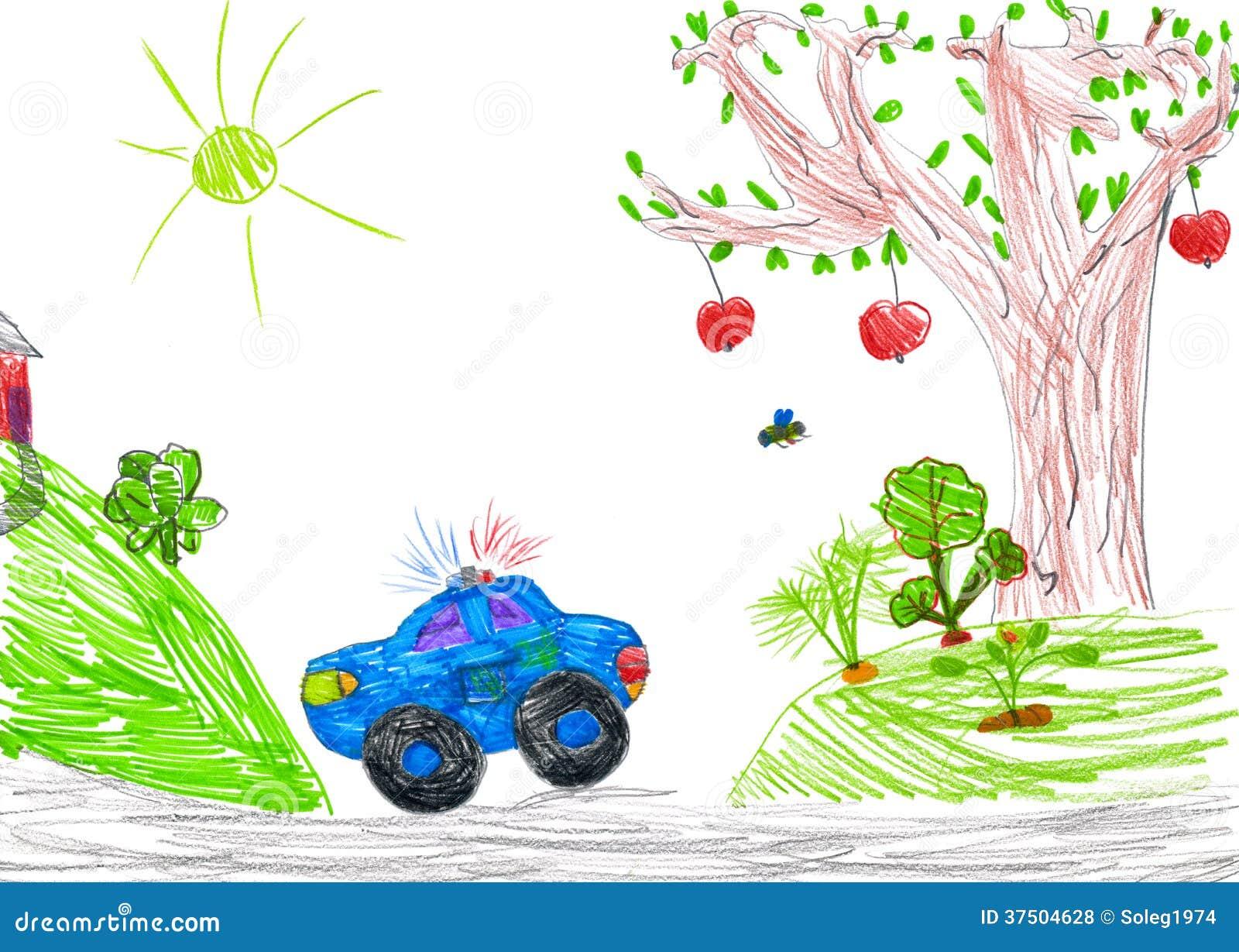 Royalty-vrije stock foto's: politiewagen en aard. kindtekening