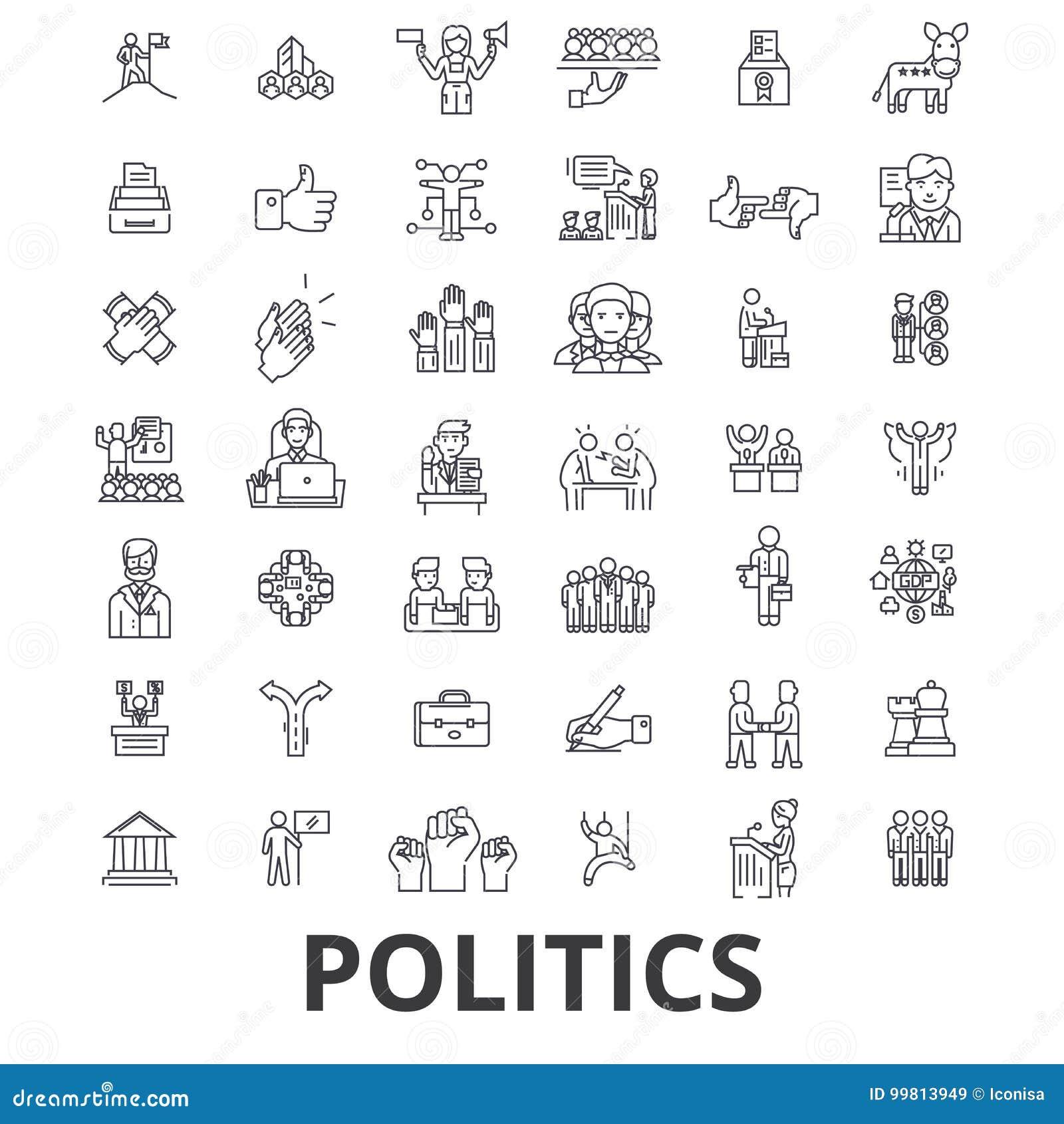 Politik, Politiker, Abstimmung, Wahl, Kampagne, Regierung, politische Gemeinschaftsikonen Editable Anschläge Flaches Design
