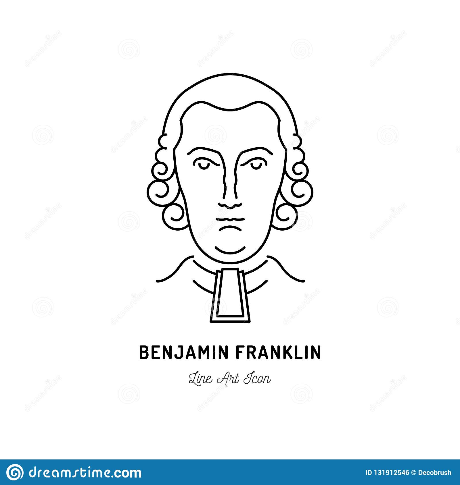 Politiker Benjamin Franklin Icons USA Linie Kunstikone, Vektorillustration