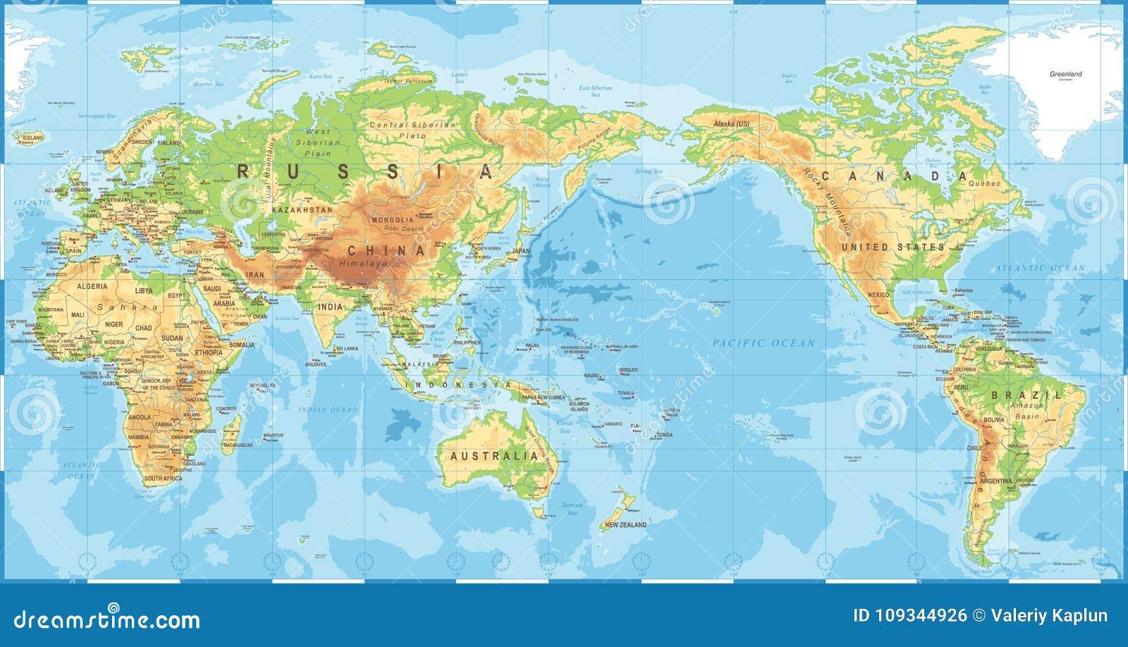 Politische körperliche topographische farbige Weltkarte Pazifik zentrierte