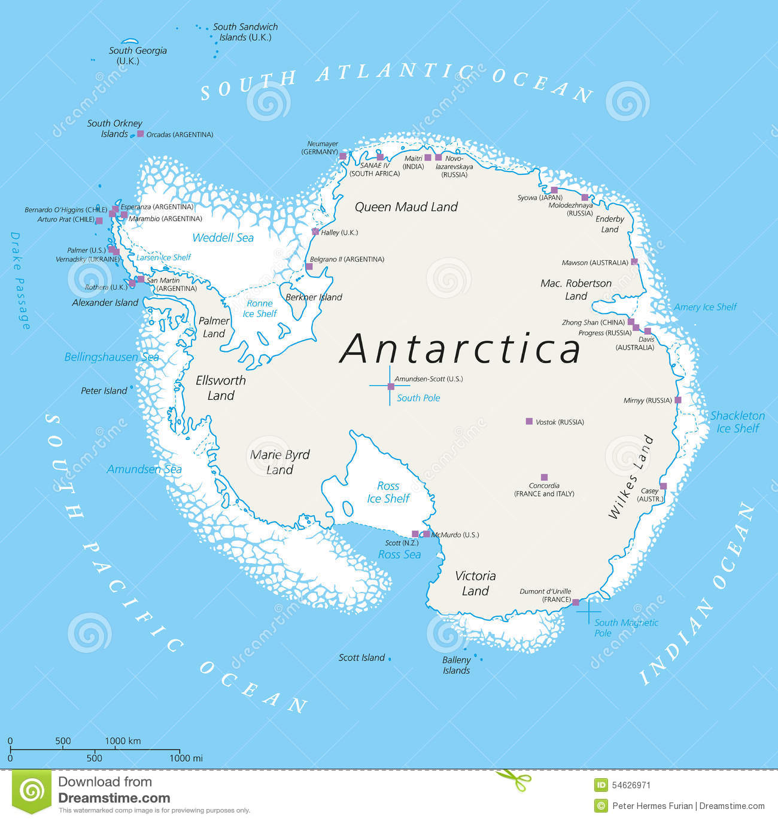 Politische Karte der Antarktis