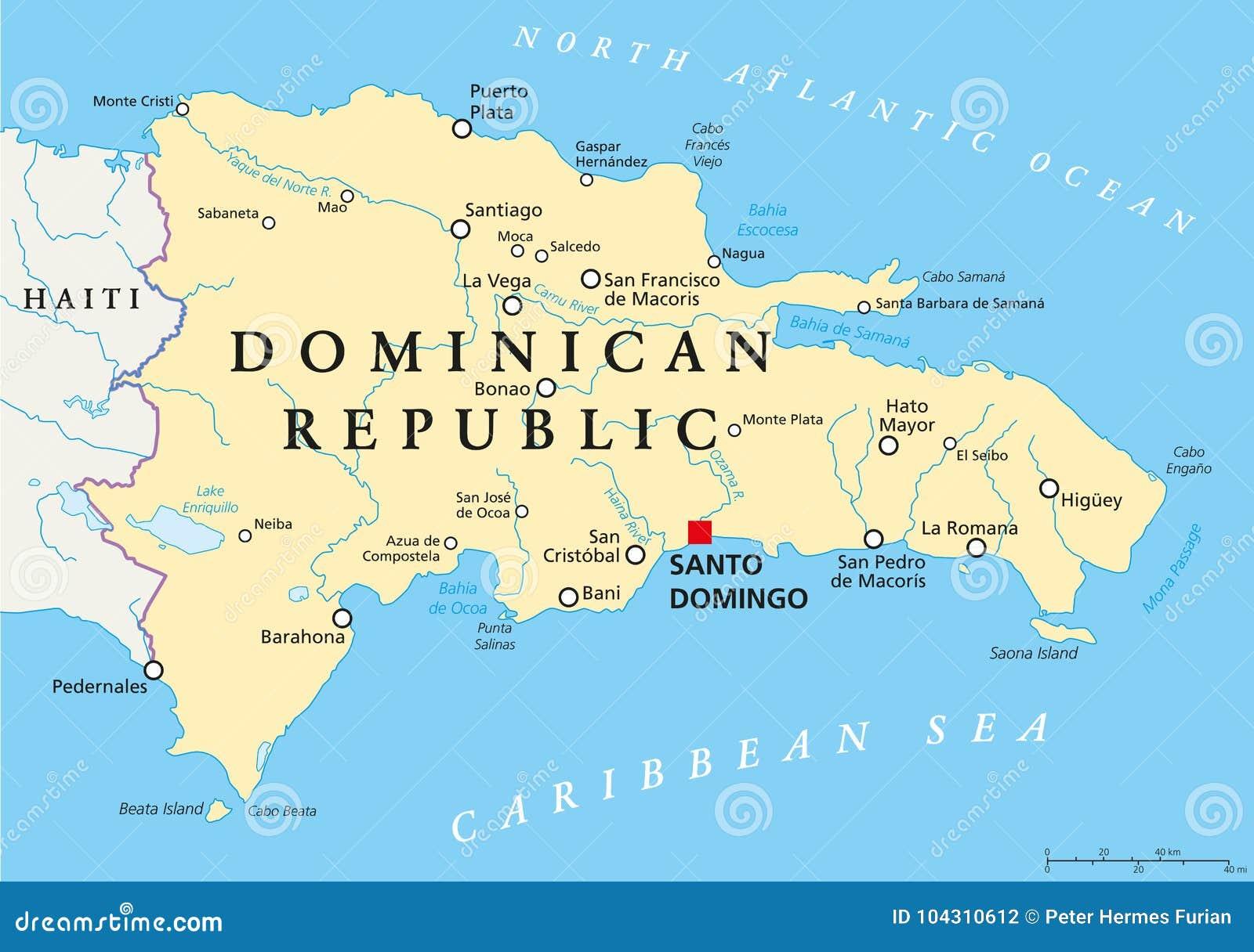 Politische Karte Der Dominikanischen Republik Vektor Abbildung