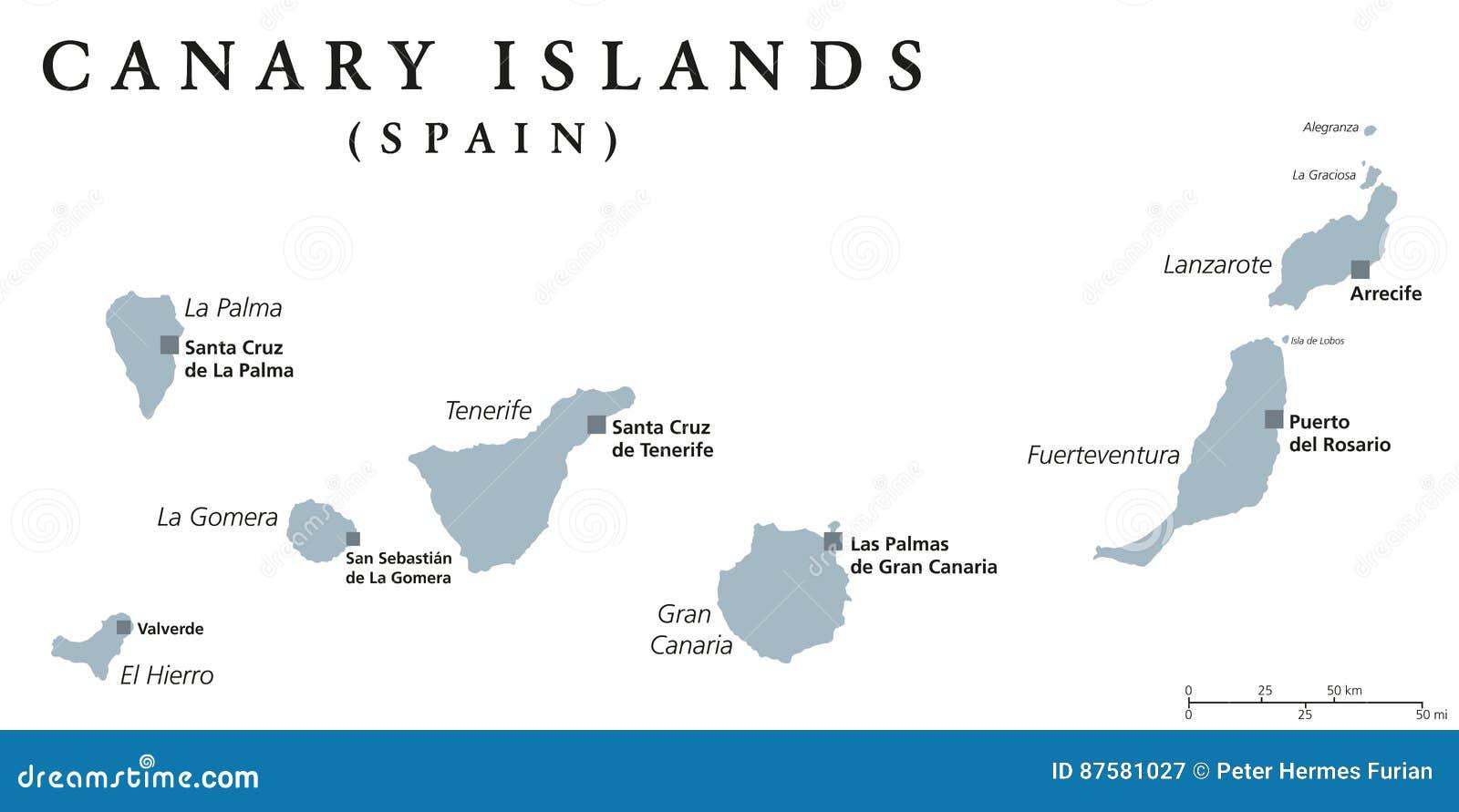 Kanaren Inseln Karte.Politische Karte Der Kanarischen Inseln Vektor Abbildung