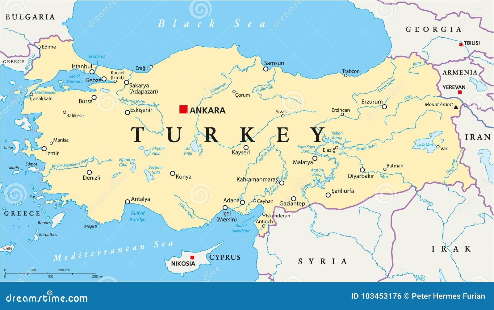 Politische Karte Der Turkei Vektor Abbildung Illustration Von