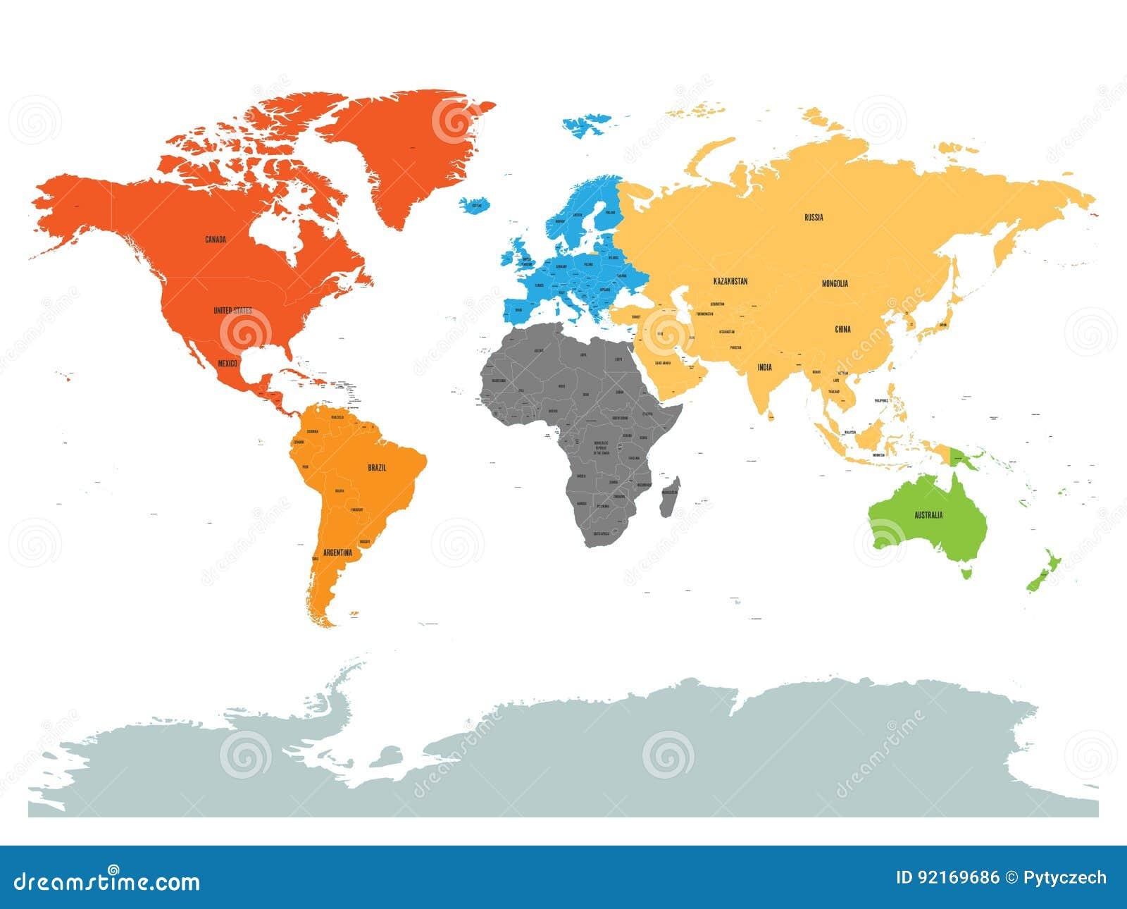 Karte Kontinente Welt.Politische Karte Der Welt Mit Der Antarktis Kontinente In