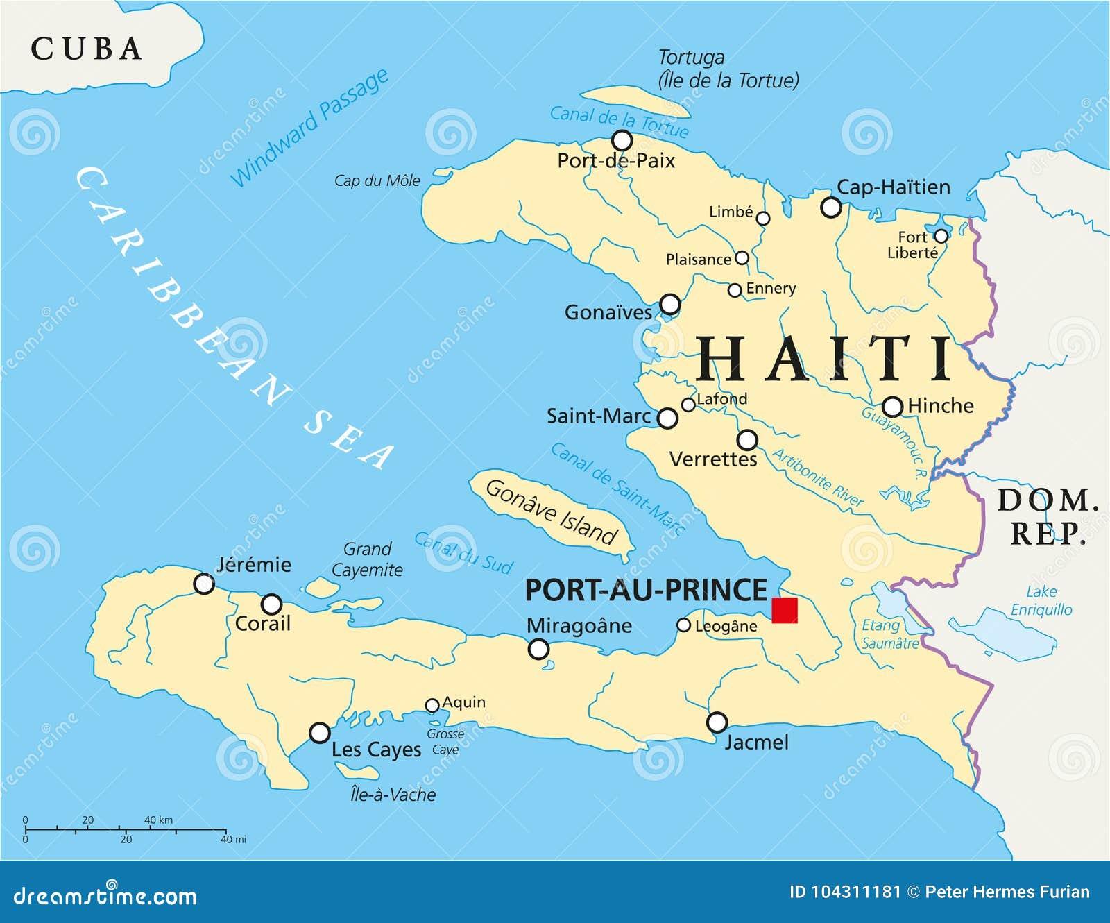 haiti karte Politische Karte Haitis vektor abbildung. Illustration von