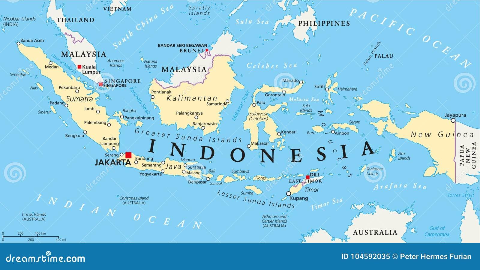 Politische Karte Indonesiens Vektor Abbildung Illustration Von