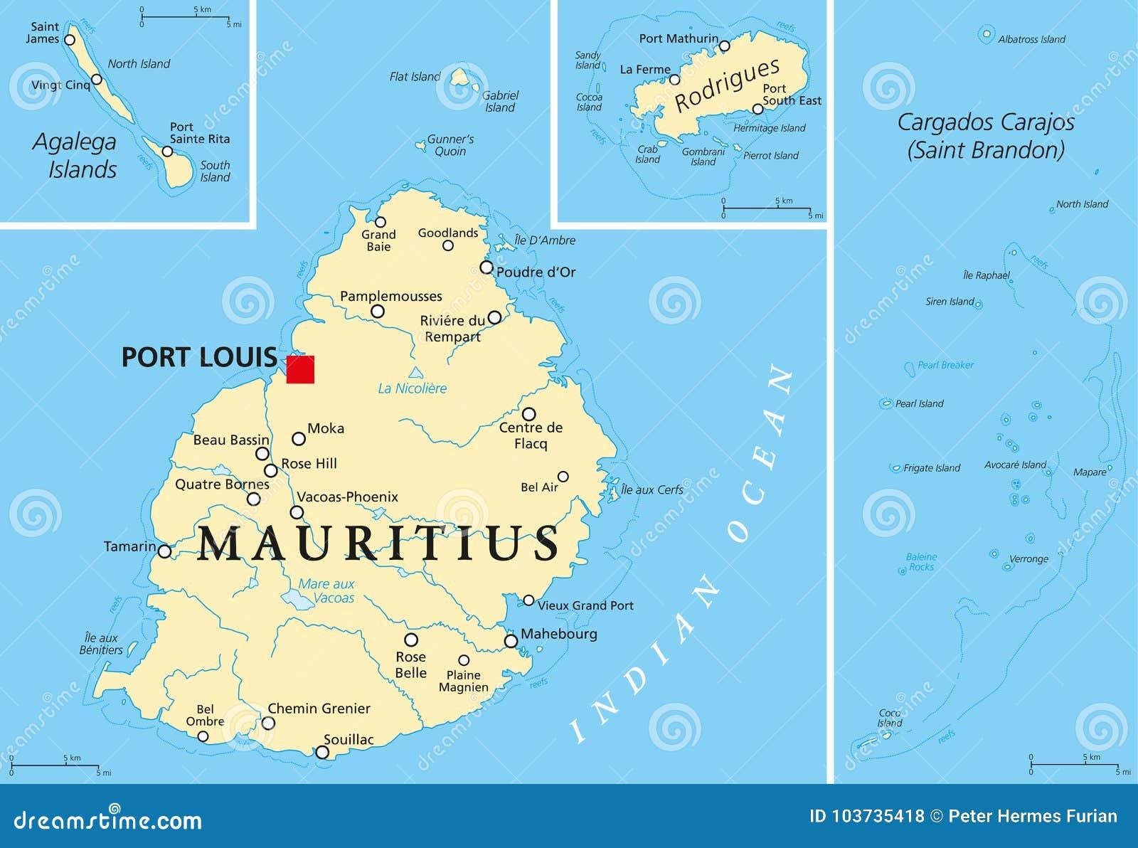 Politische Karte Mauritius Vektor Abbildung Illustration Von