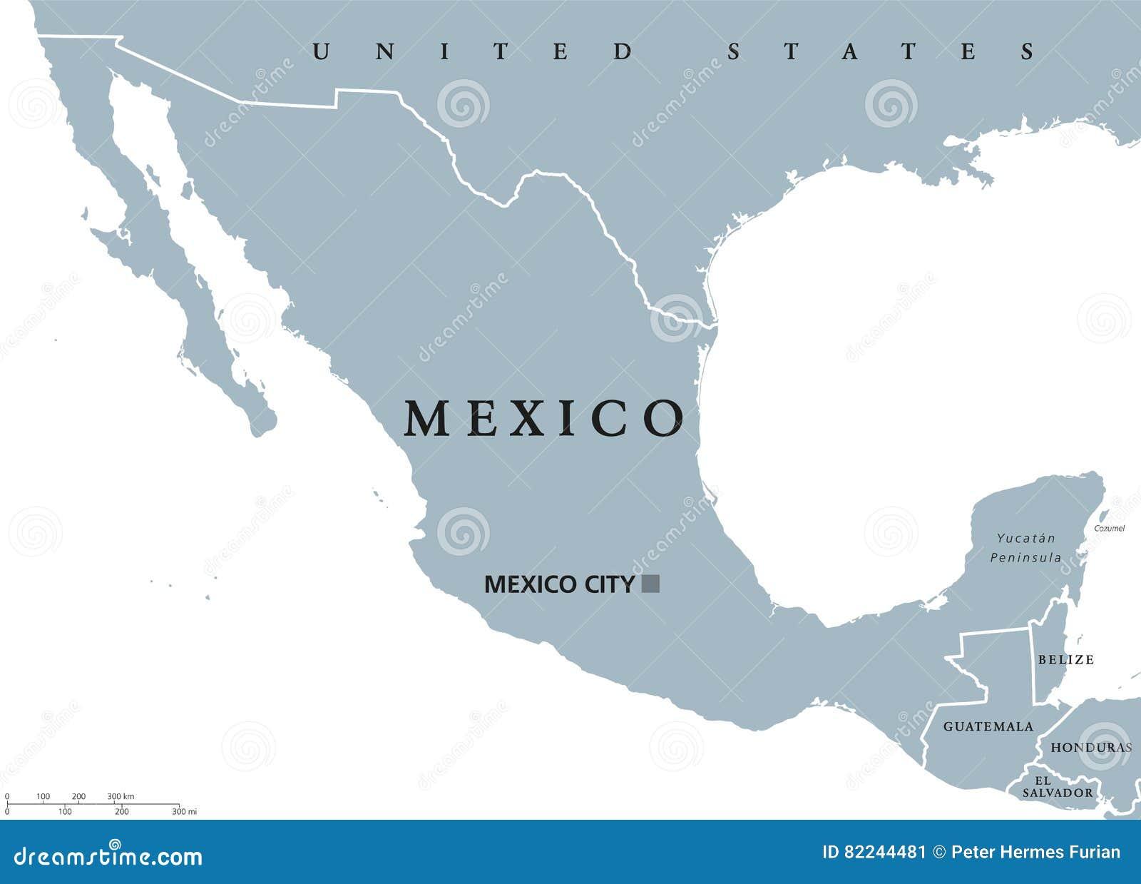 Mexiko Staaten Karte.Politische Karte Mexikos Vektor Abbildung Illustration Von