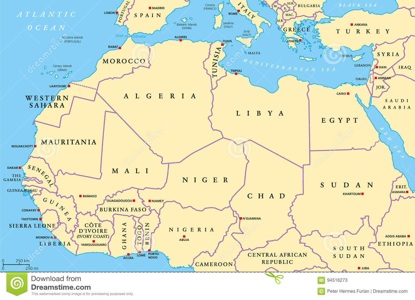 Politische Karte Nord Afrika Lander Vektor Abbildung