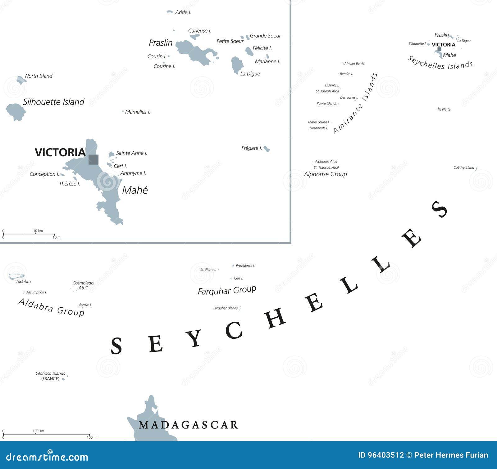 Karte Seychellen.Politische Karte Seychellen Vektor Abbildung Illustration