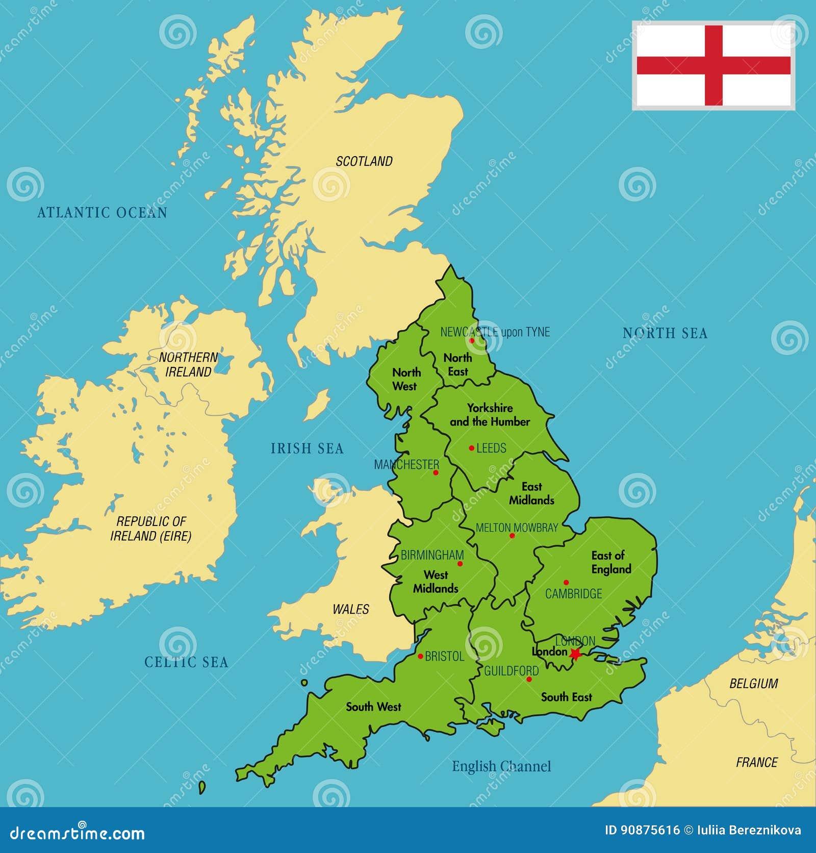 Politische Karte von England mit Regionen und ihren Hauptstädten