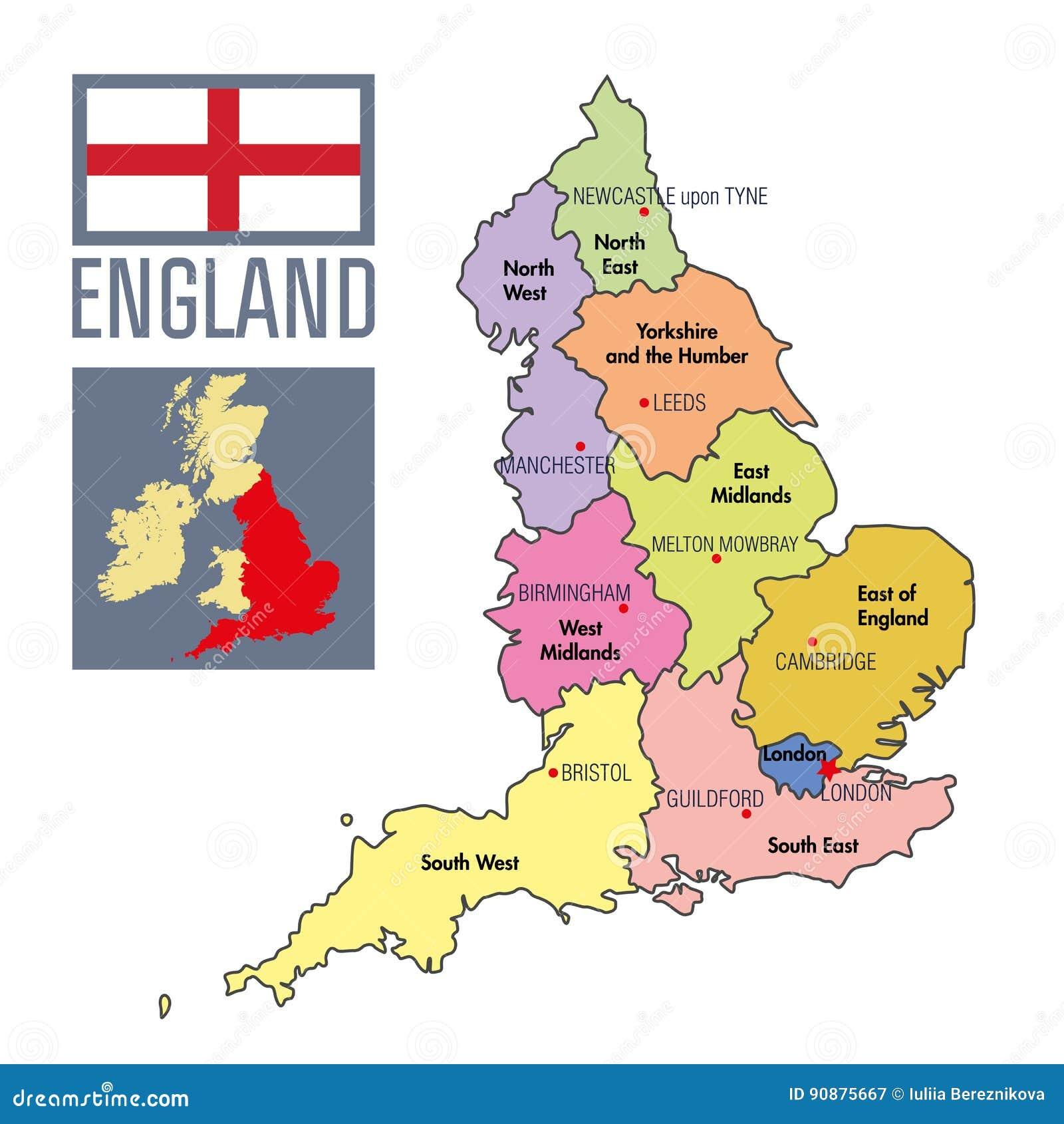 Politische Karte Von England Mit Regionen Und Ihren Hauptstadten