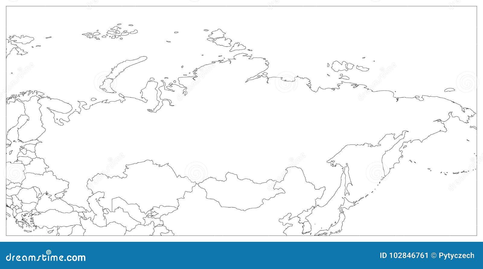 Karte Russland Asien.Politische Karte Von Russland Und Von Umgebenden Ländern Schwarzer