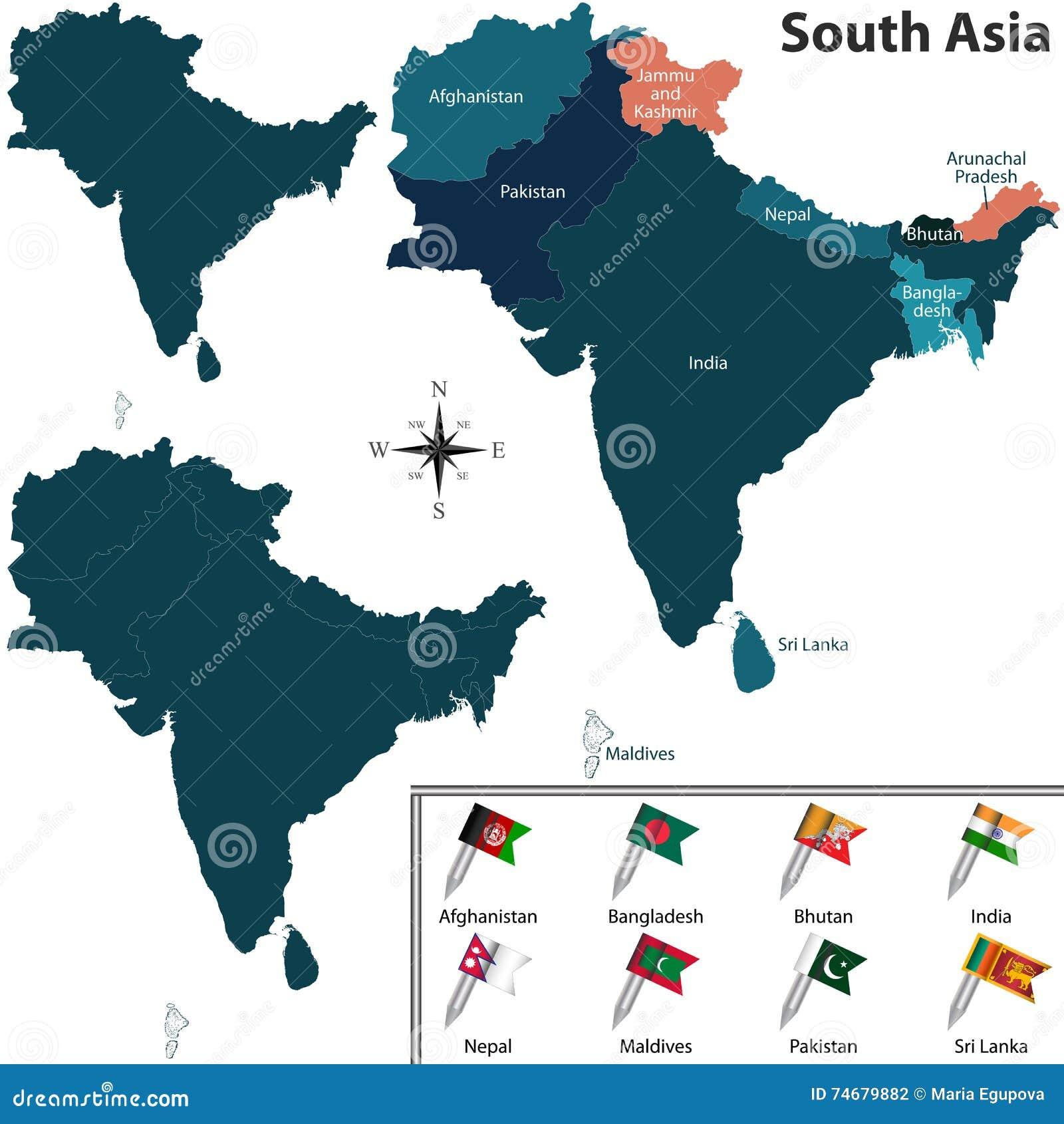 Südasien Karte.Politische Karte Von Südasien Vektor Abbildung Illustration Von