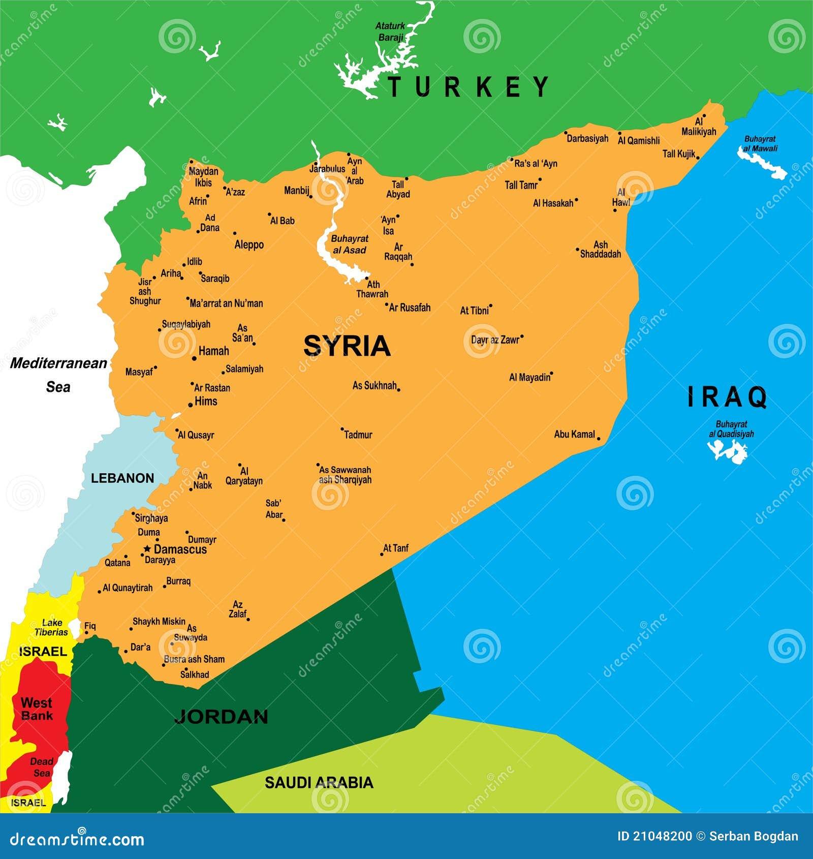 Karte Syrien.Politische Karte Von Syrien Vektor Abbildung Illustration Von