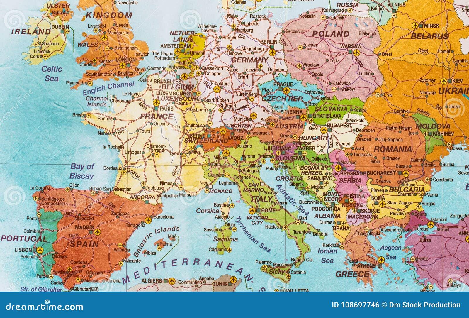 Mittelmeer Karte Europa.Politische Kontinentale Karte Stockfoto Bild Von Grenzen