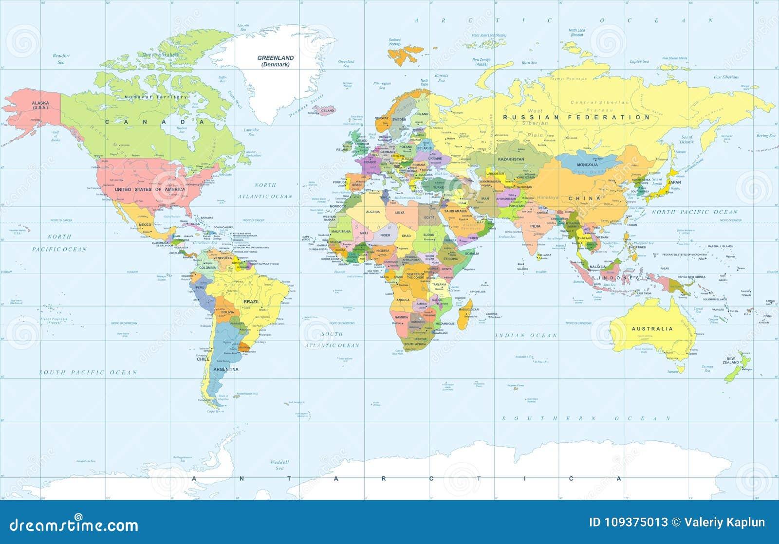 Politischer farbiger Weltkarte-Vektor
