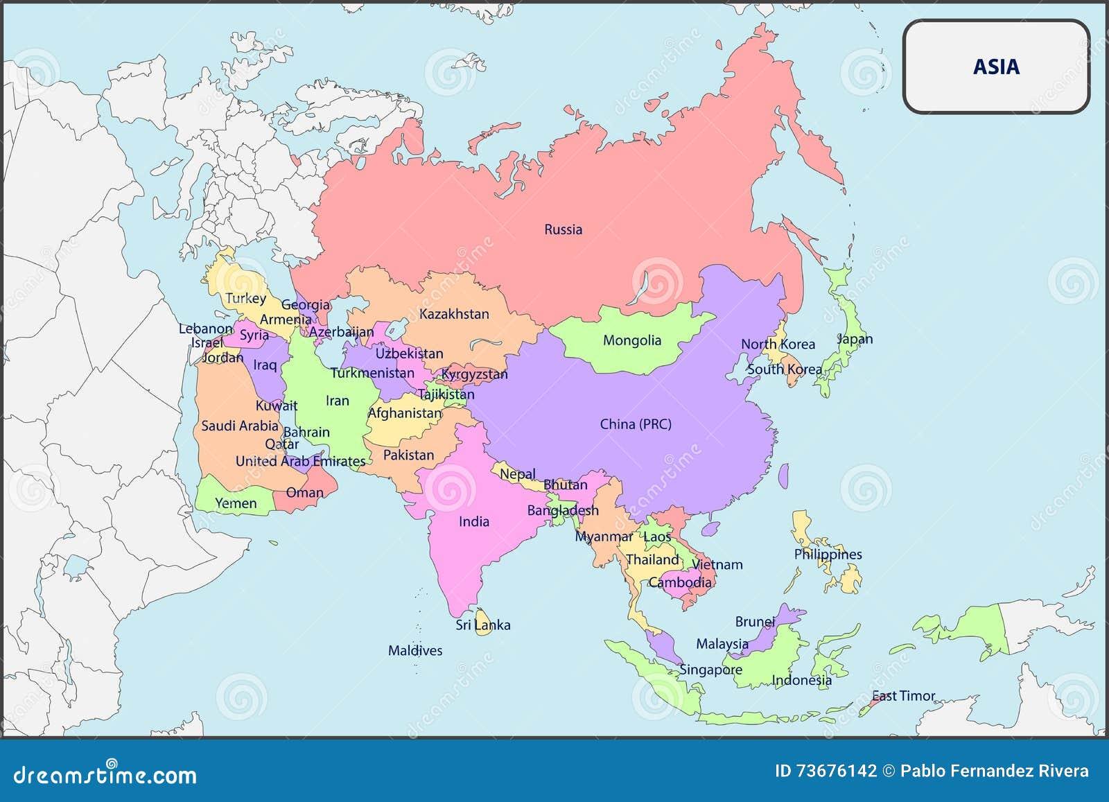Politisk Oversikt Av Asien Med Namn Vektor Illustrationer